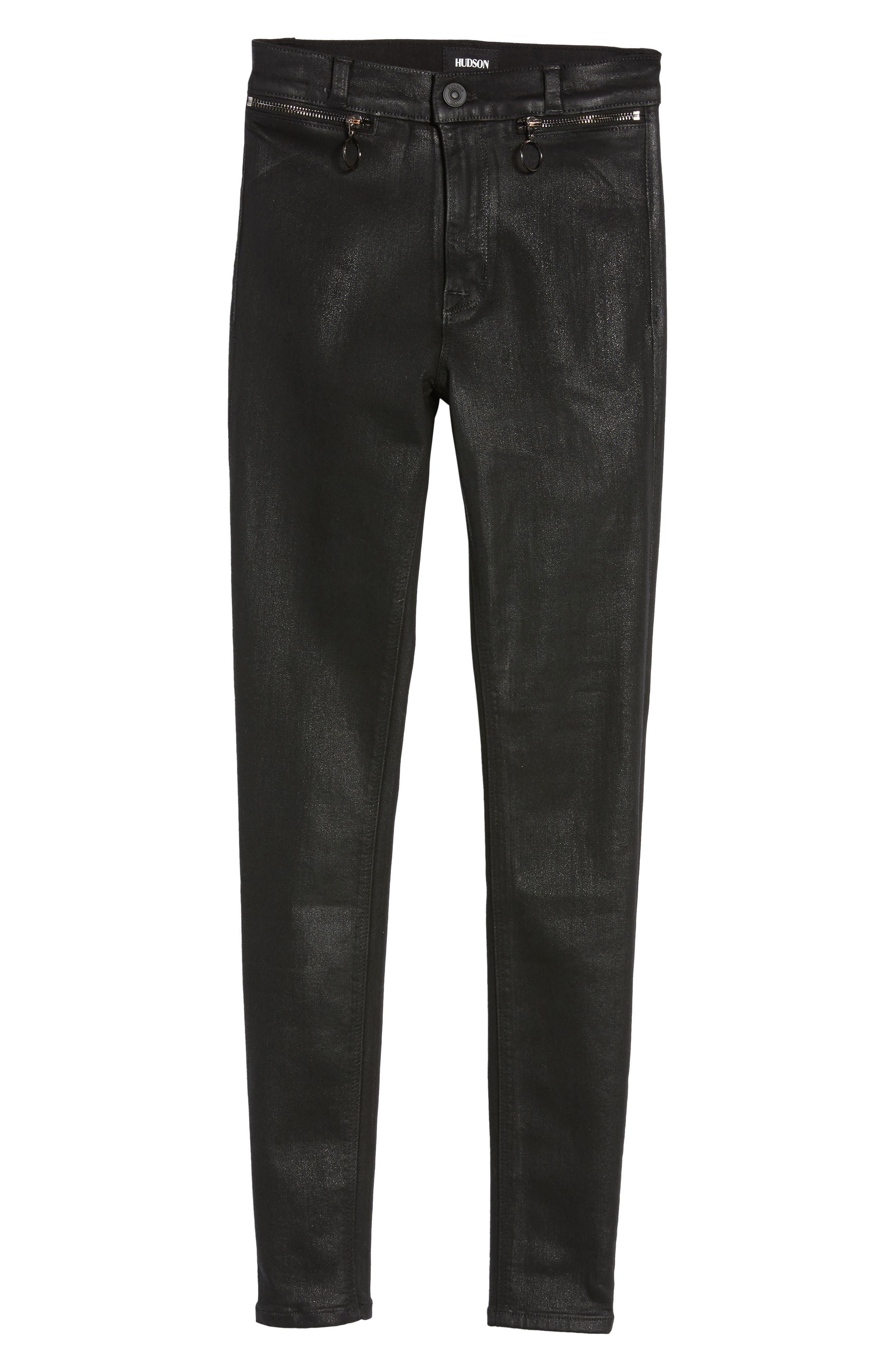 Alternate Image 6  - Hudson Jeans Kooper Coated Skinny Jeans (Black Coated)