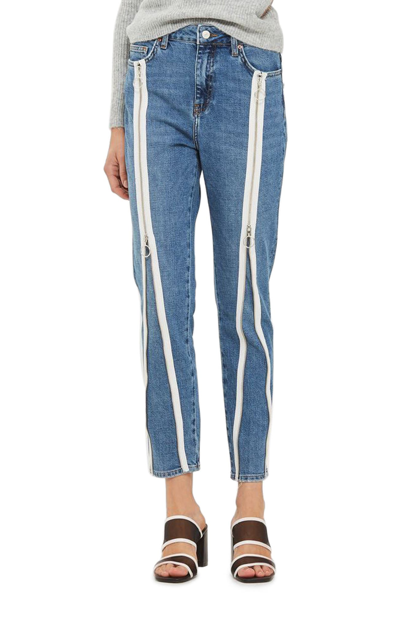 Zip Straight Leg Jeans,                             Main thumbnail 1, color,                             Mid Denim