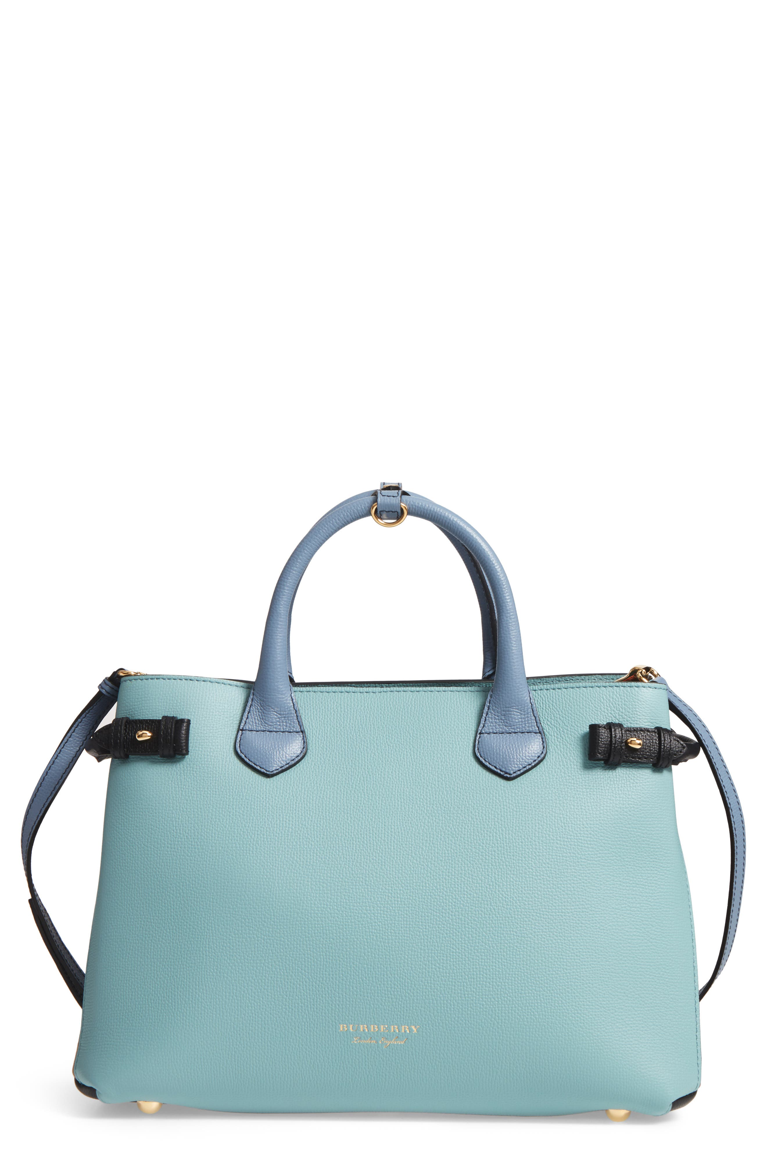 Medium Banner House Check & Leather Tote,                             Main thumbnail 1, color,                             Pale Opal/Slate Blue
