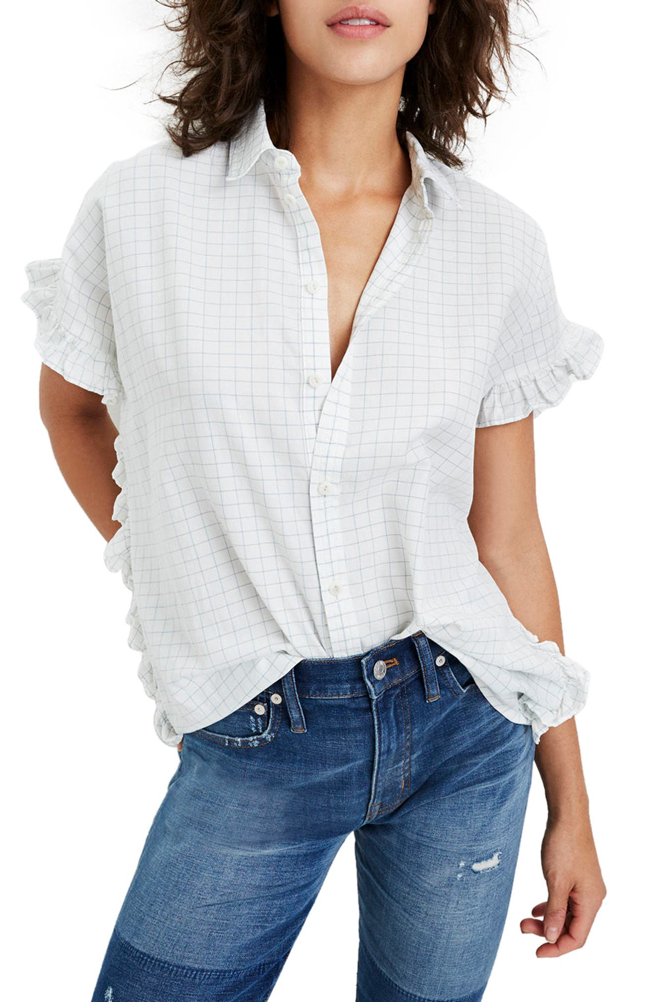 Windowpane Check Ruffle Shirt,                         Main,                         color, Mini Windowpane