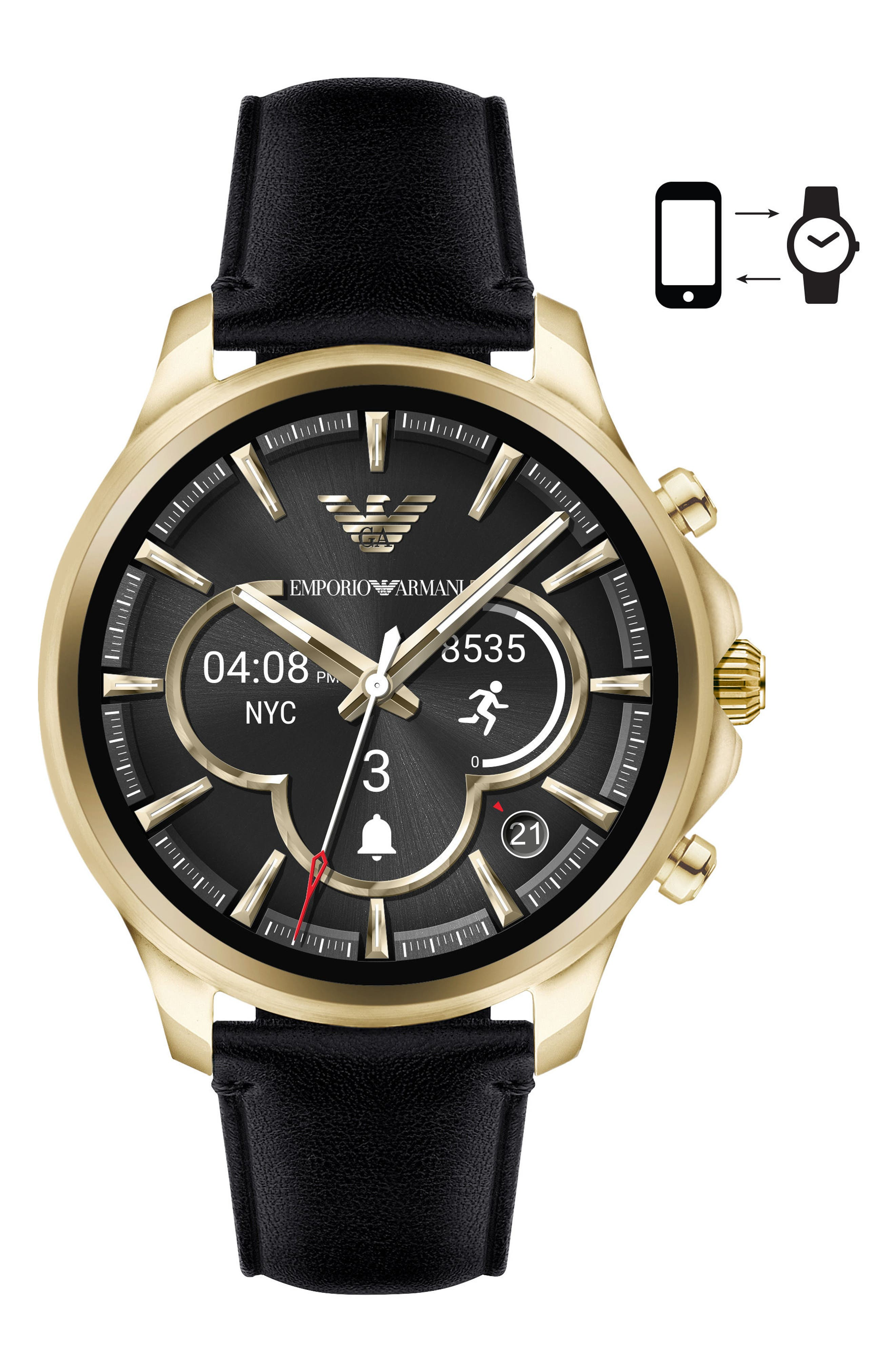 Touchscreen Leather Strap Smartwatch, 46mm,                         Main,                         color, Black/ Black