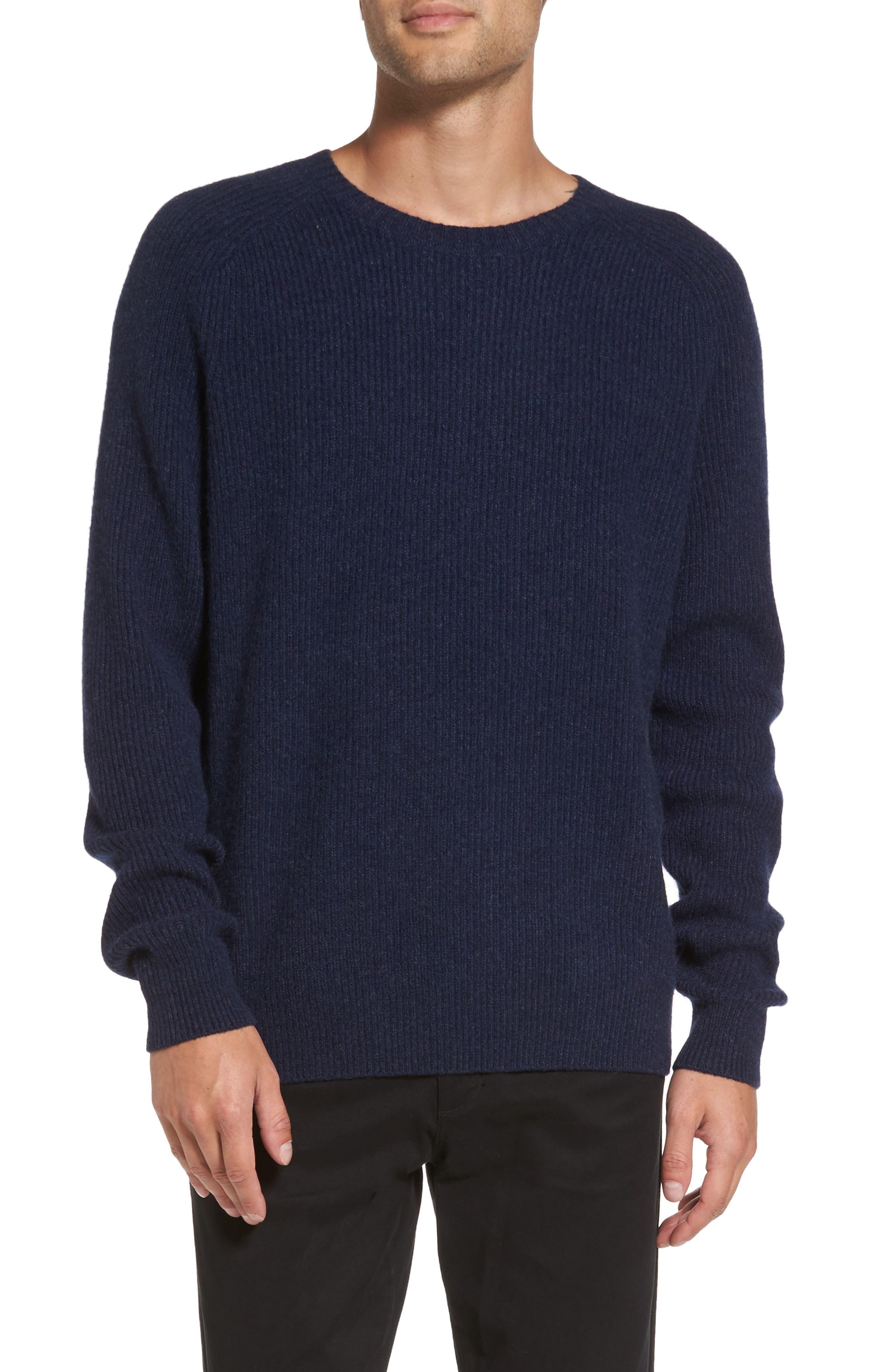 Ribbed Wool & Cashmere Raglan Sweater,                             Main thumbnail 1, color,                             Coastal