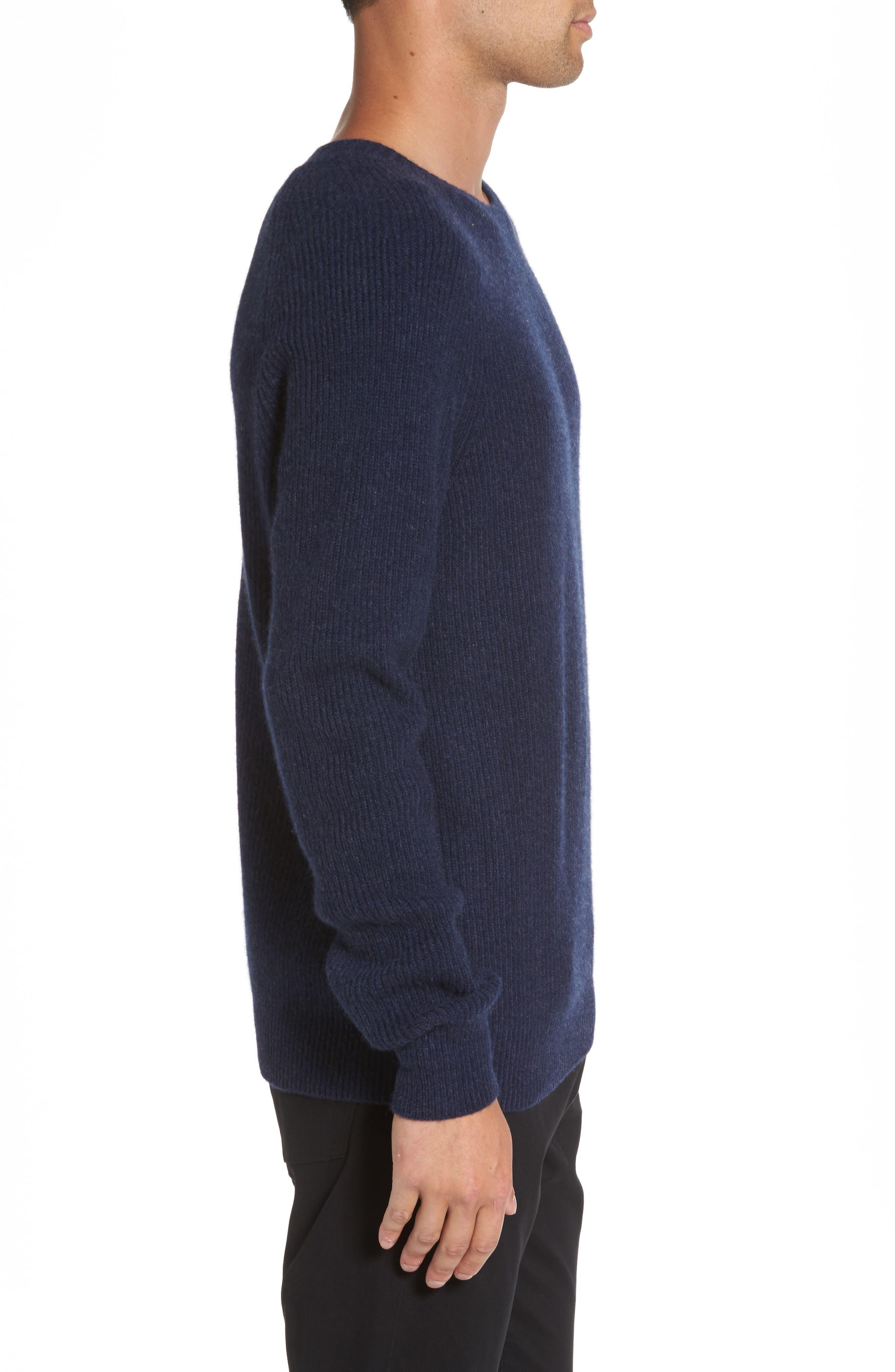 Ribbed Wool & Cashmere Raglan Sweater,                             Alternate thumbnail 3, color,                             Coastal