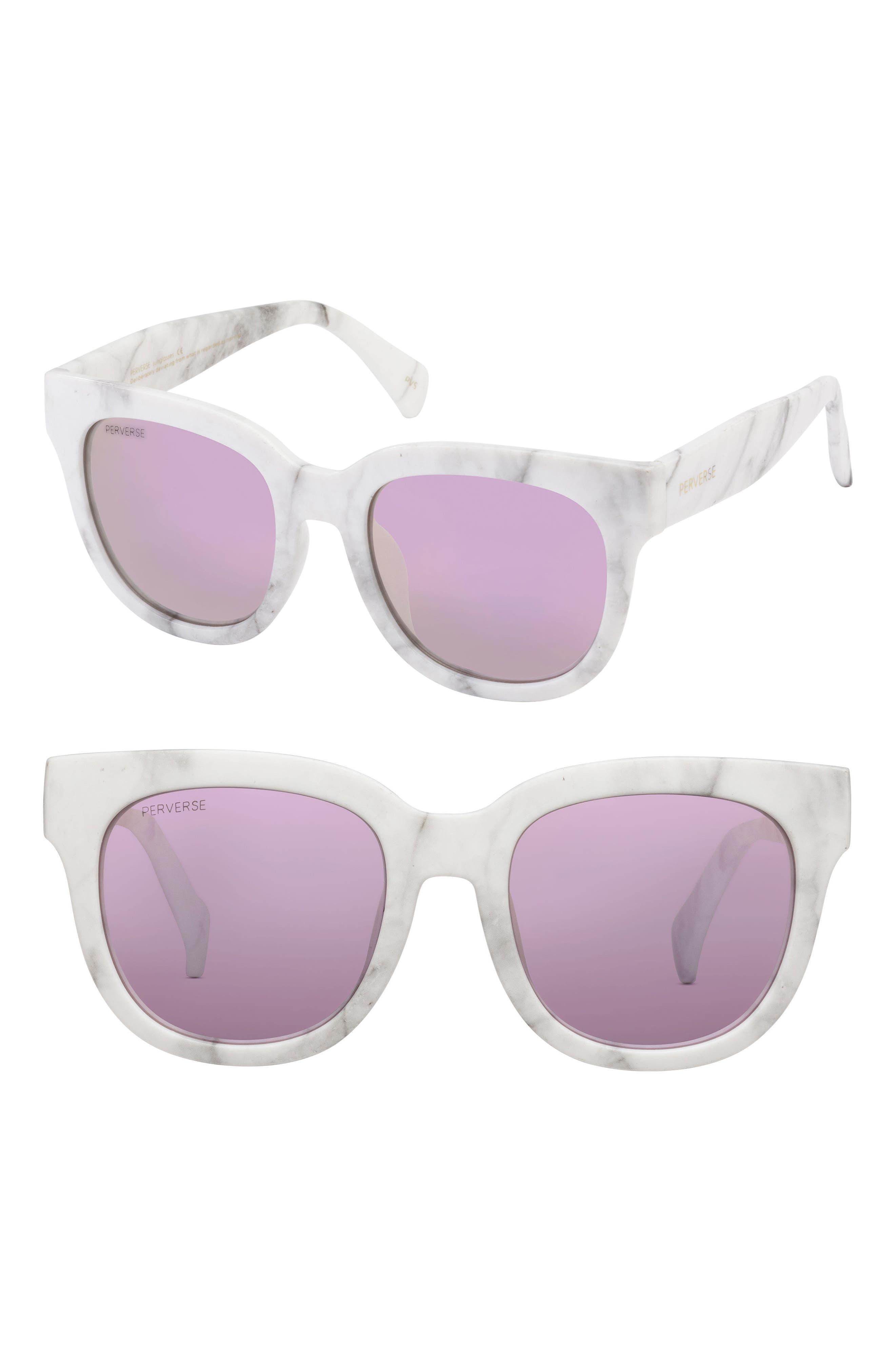 Roman 50mm Mirrored Sunglasses,                         Main,                         color, White/ Grey/ Pink