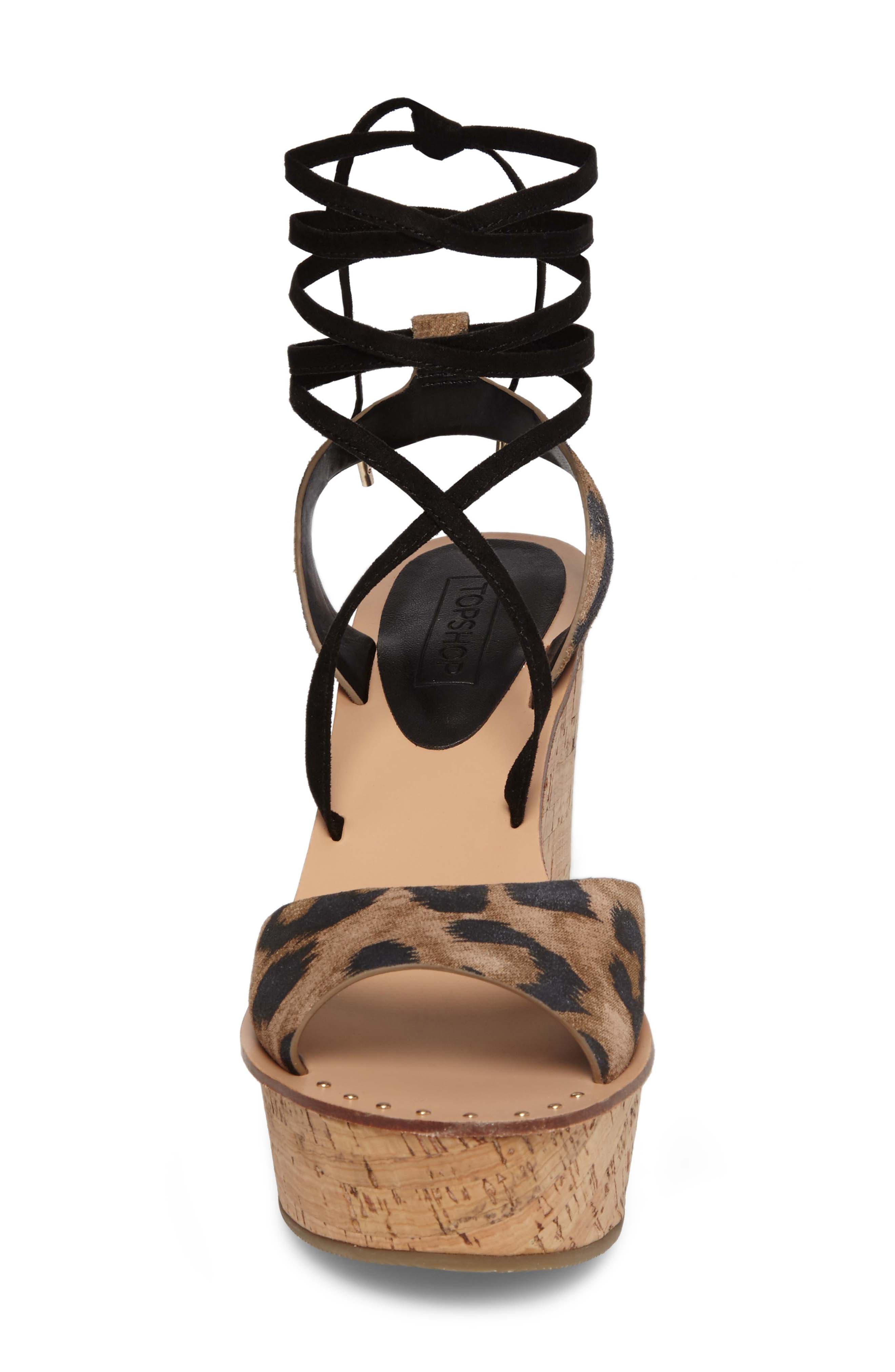 Platform Wedge Sandal,                             Alternate thumbnail 4, color,                             Leopard