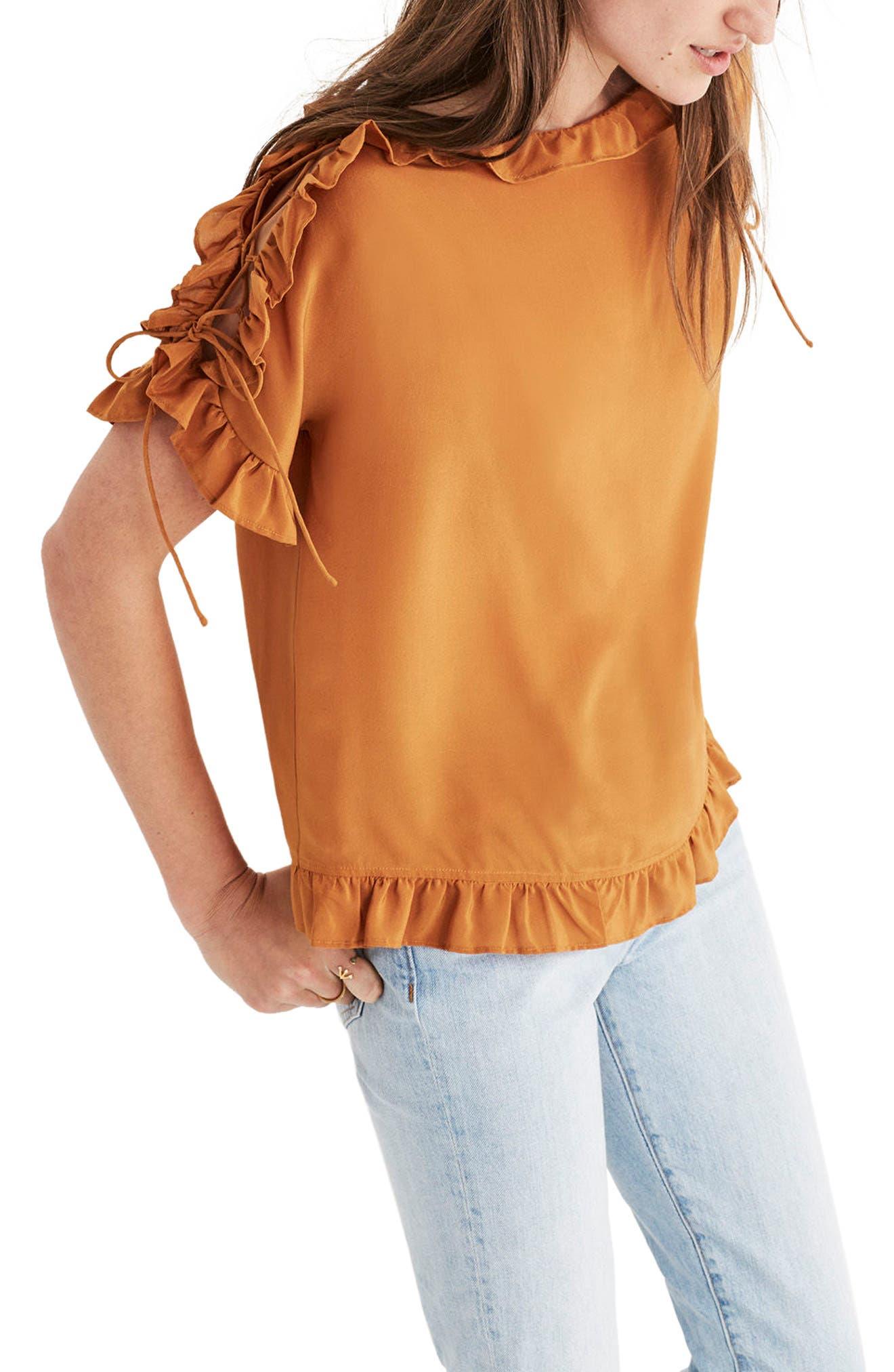 MADEWELL Ruffle Silk Top