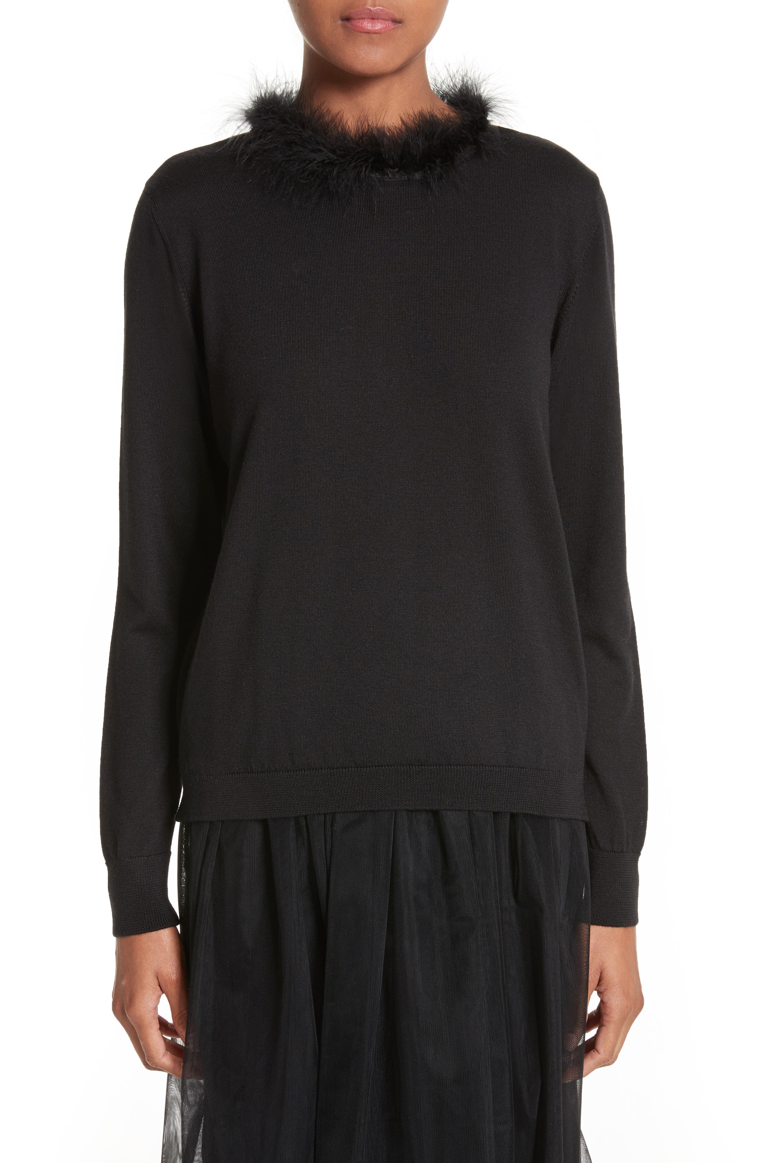 Teddy Open Back Sweater with Feather Trim,                         Main,                         color, Black