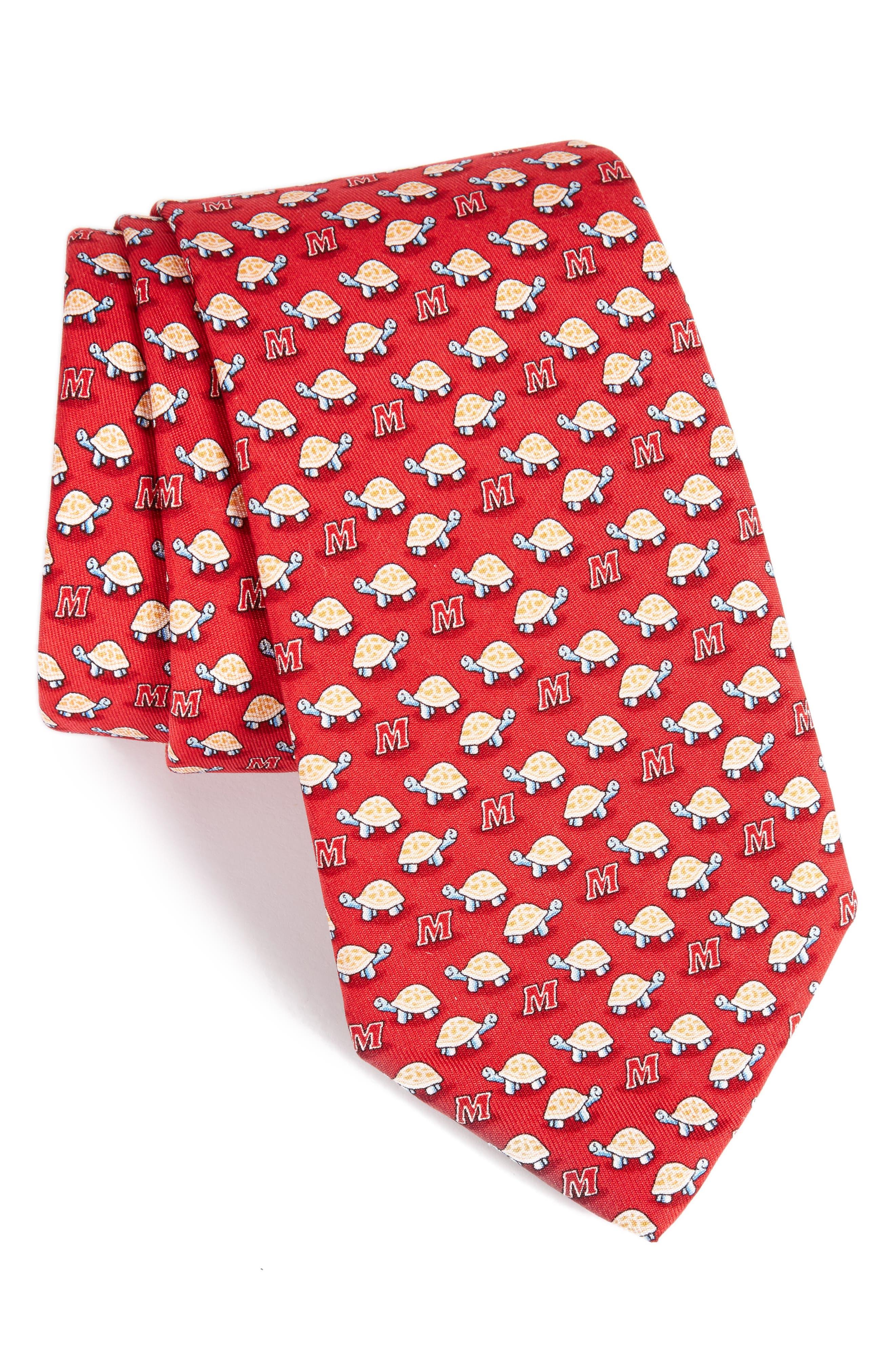 Maryland Terrapins Silk Tie,                         Main,                         color, Red