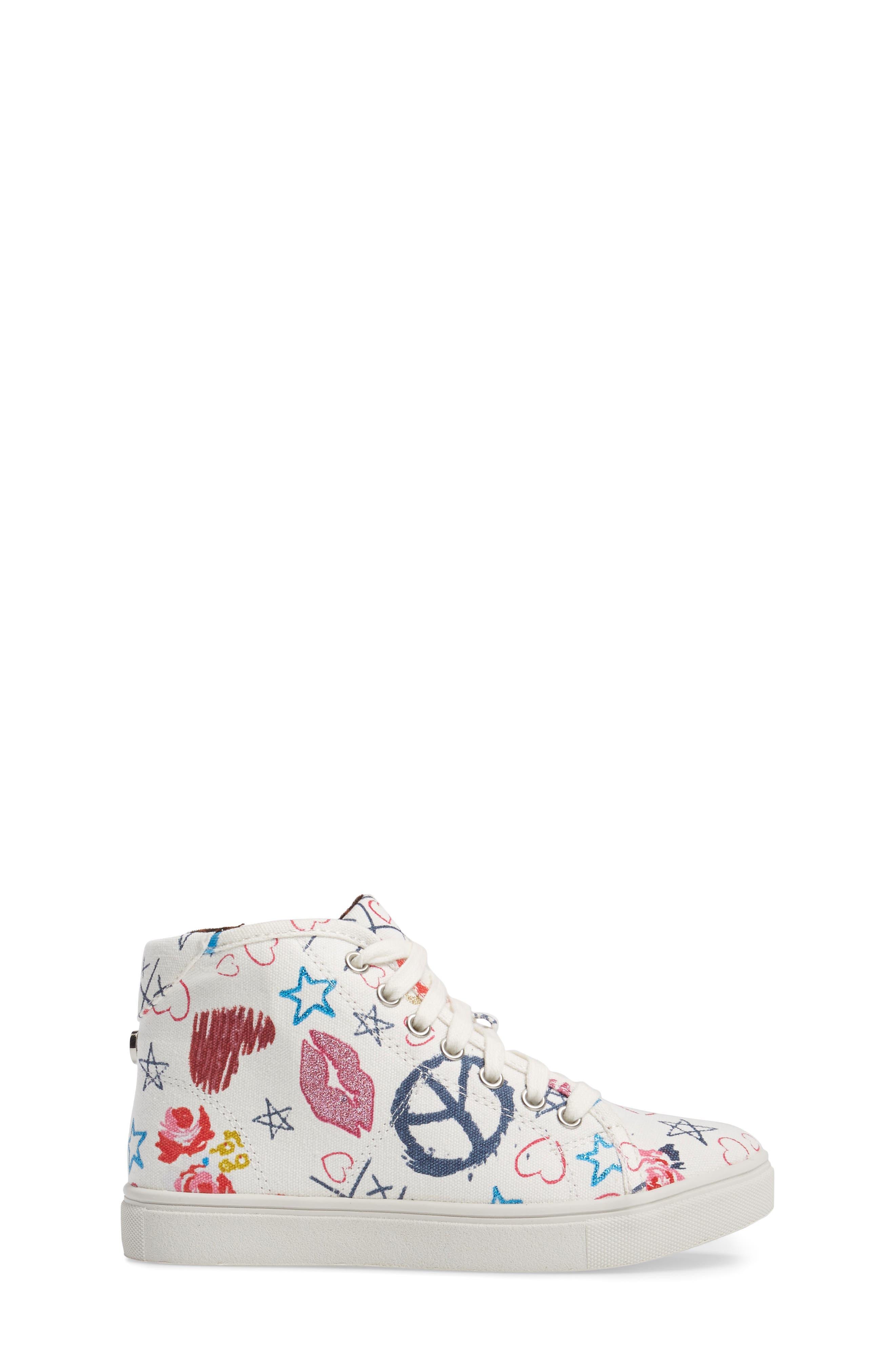 JScribble High Top Sneaker,                             Alternate thumbnail 3, color,                             White