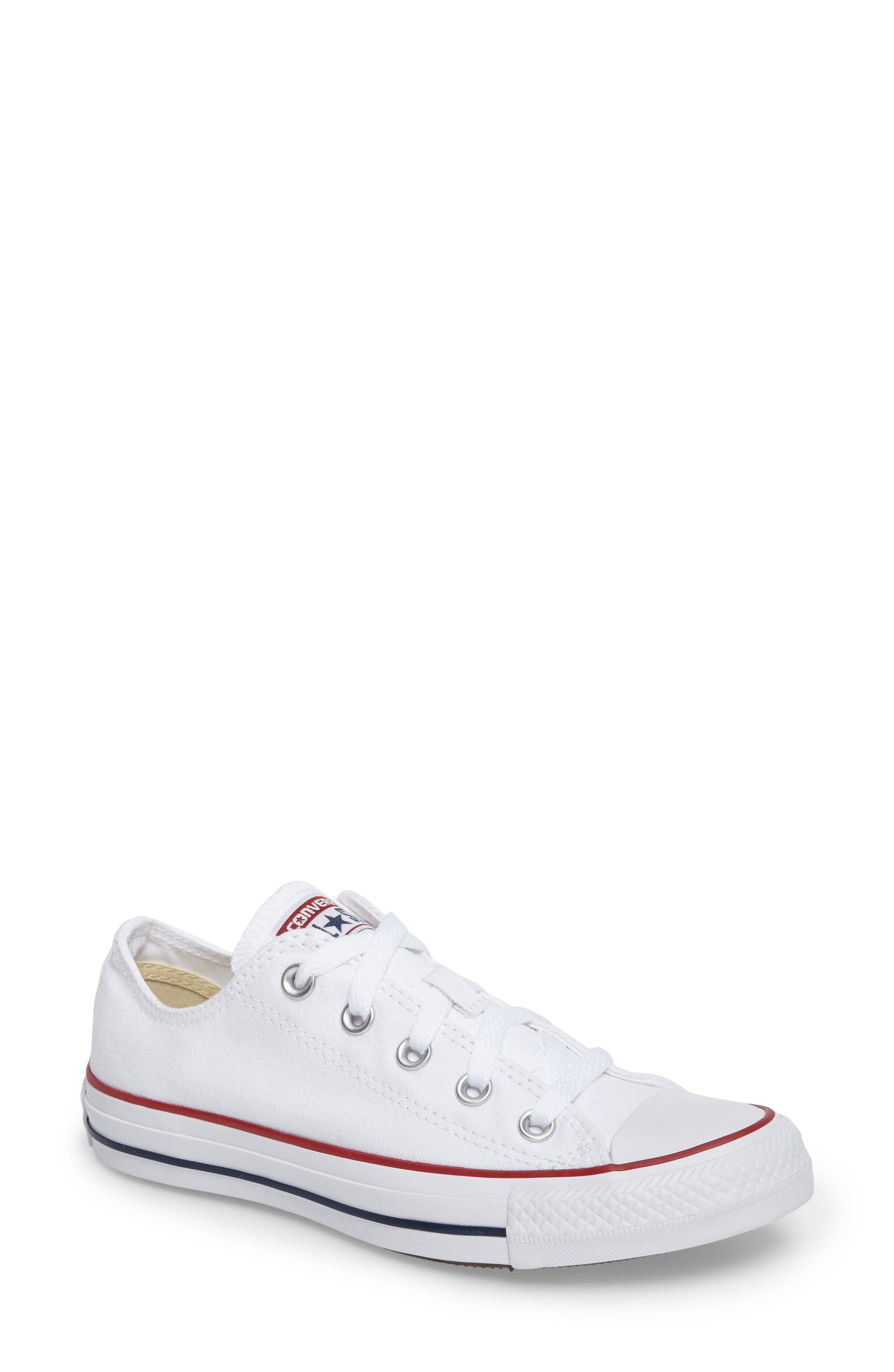 Chuck Taylor<sup>®</sup> Low Top Sneaker,                         Main,                         color, Optic White
