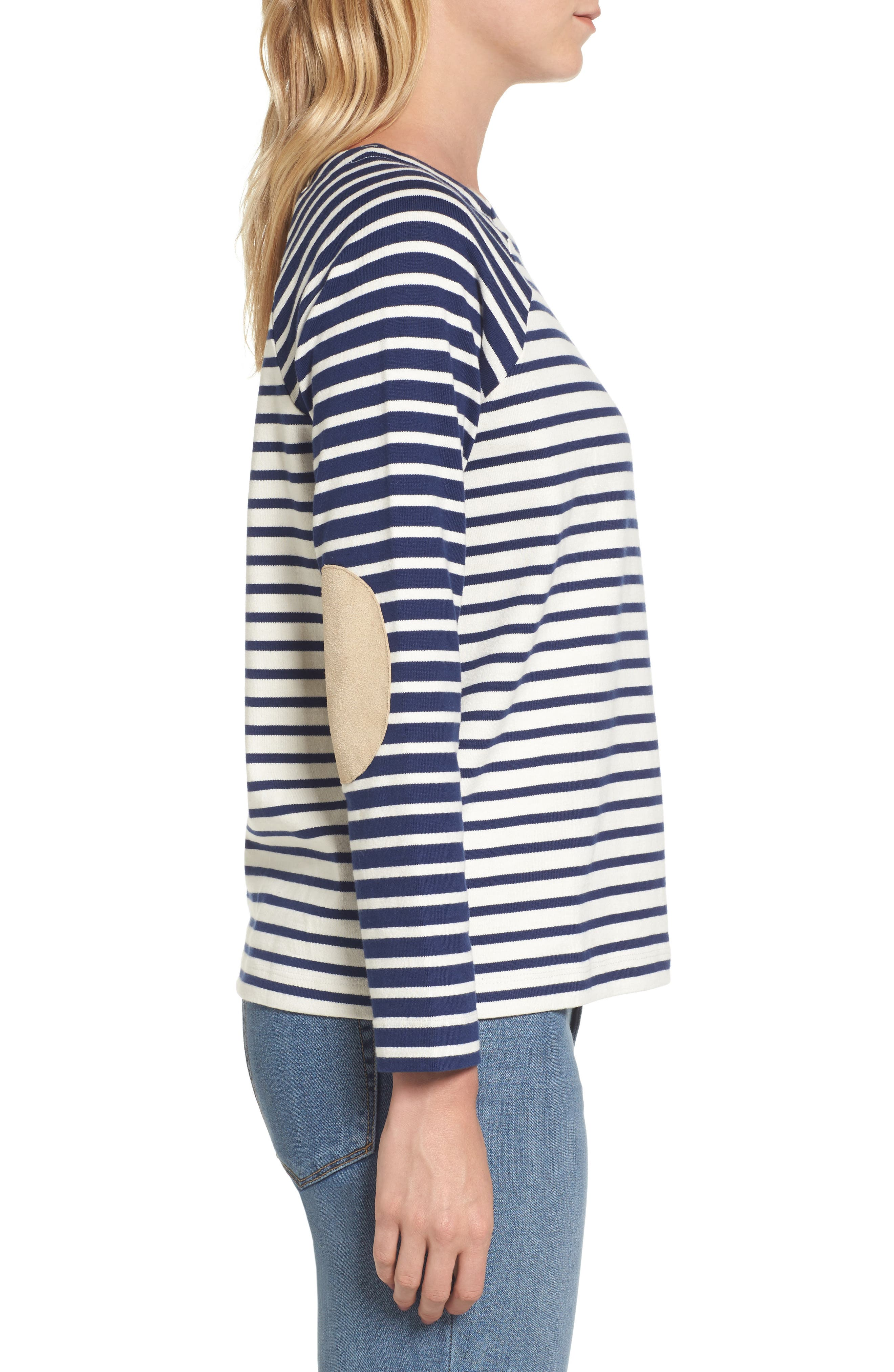 Elbow Patch Mixed Stripe Top,                             Alternate thumbnail 3, color,                             Deep Bay