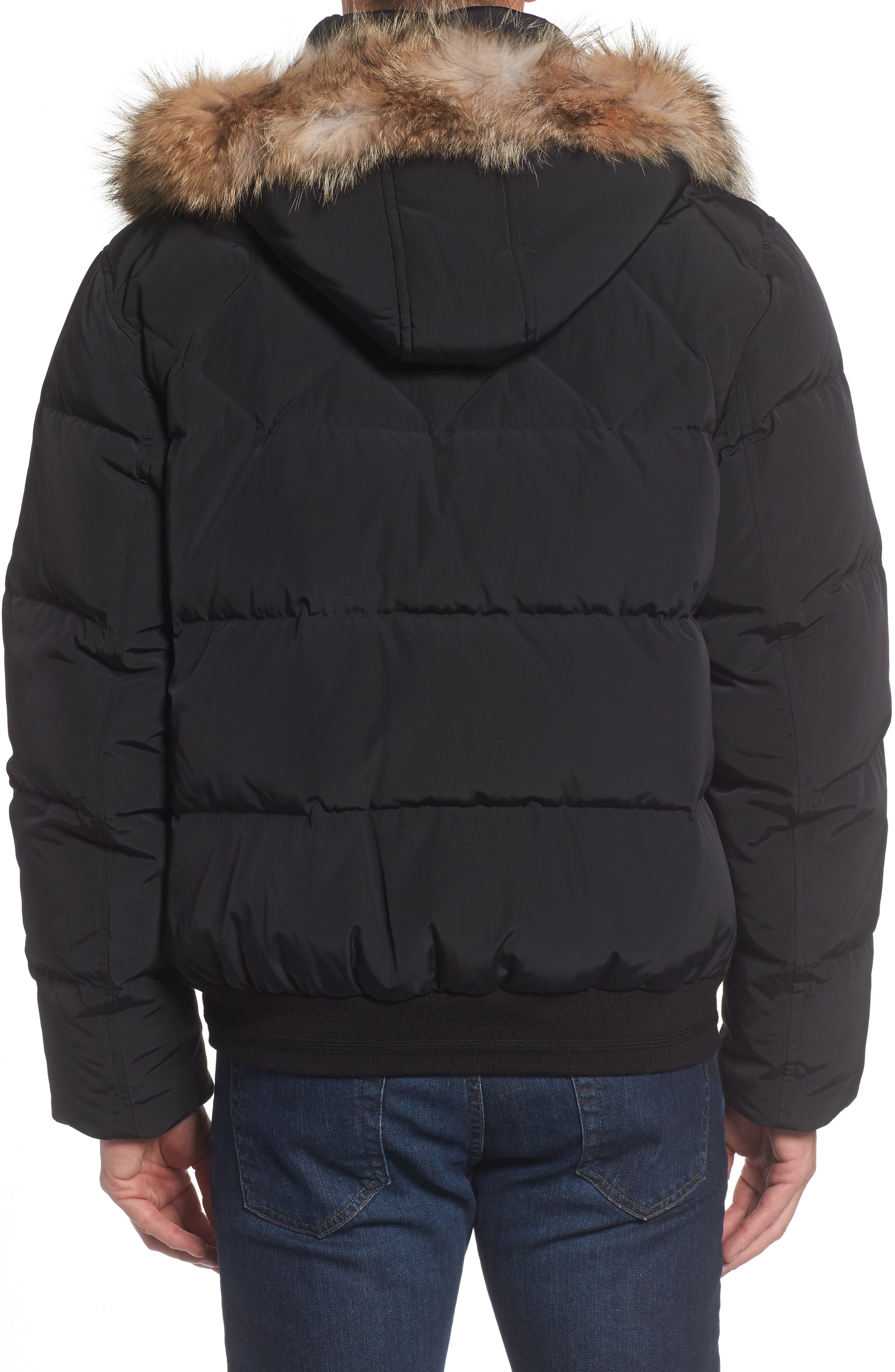 Insulated Jacket with Genuine Coyote Fur,                             Alternate thumbnail 2, color,                             Black