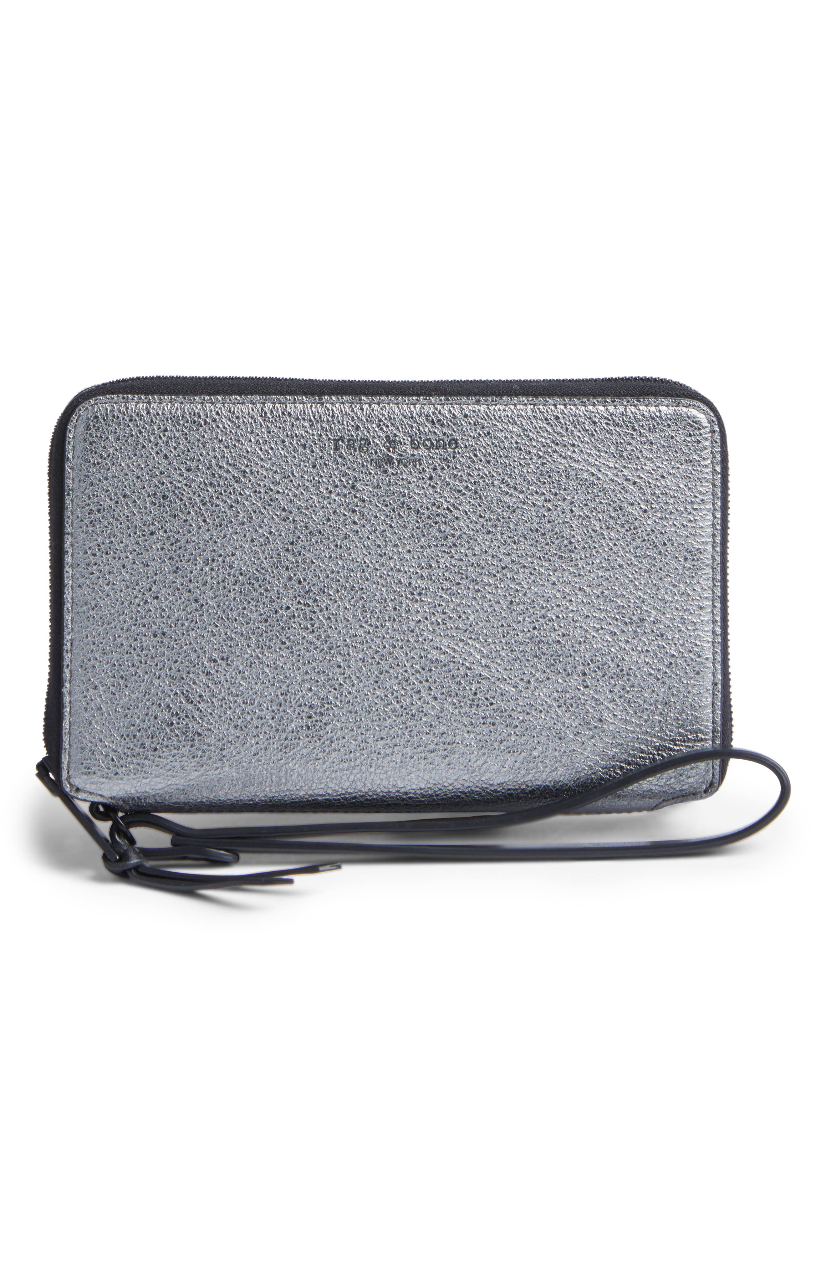 Devon Metallic Buffalo Leather Phone Wallet,                             Main thumbnail 1, color,                             Gunmetal