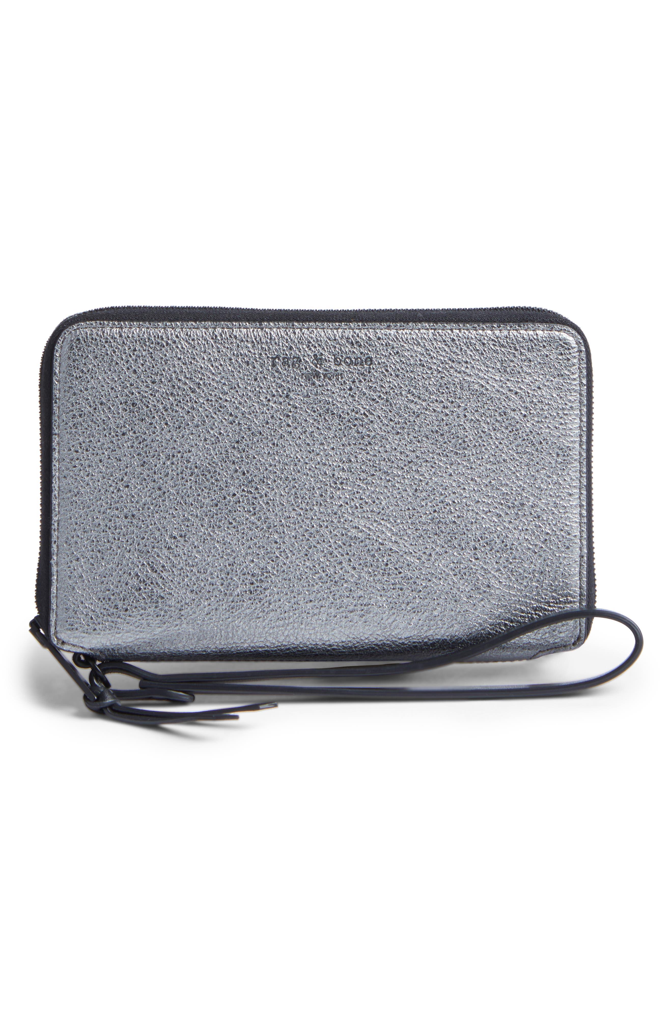 Devon Metallic Buffalo Leather Phone Wallet,                         Main,                         color, Gunmetal