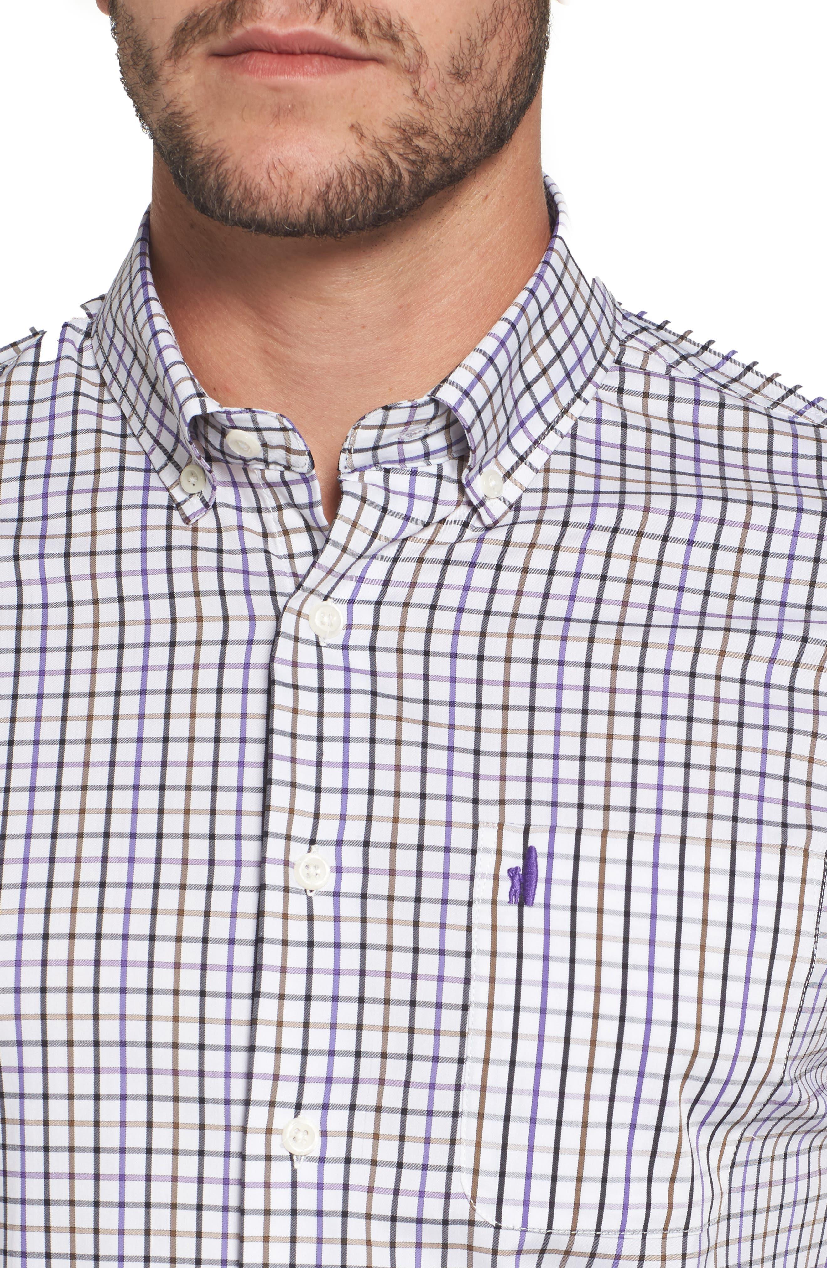 Merion Tattersall Sport Shirt,                             Alternate thumbnail 4, color,                             Viola