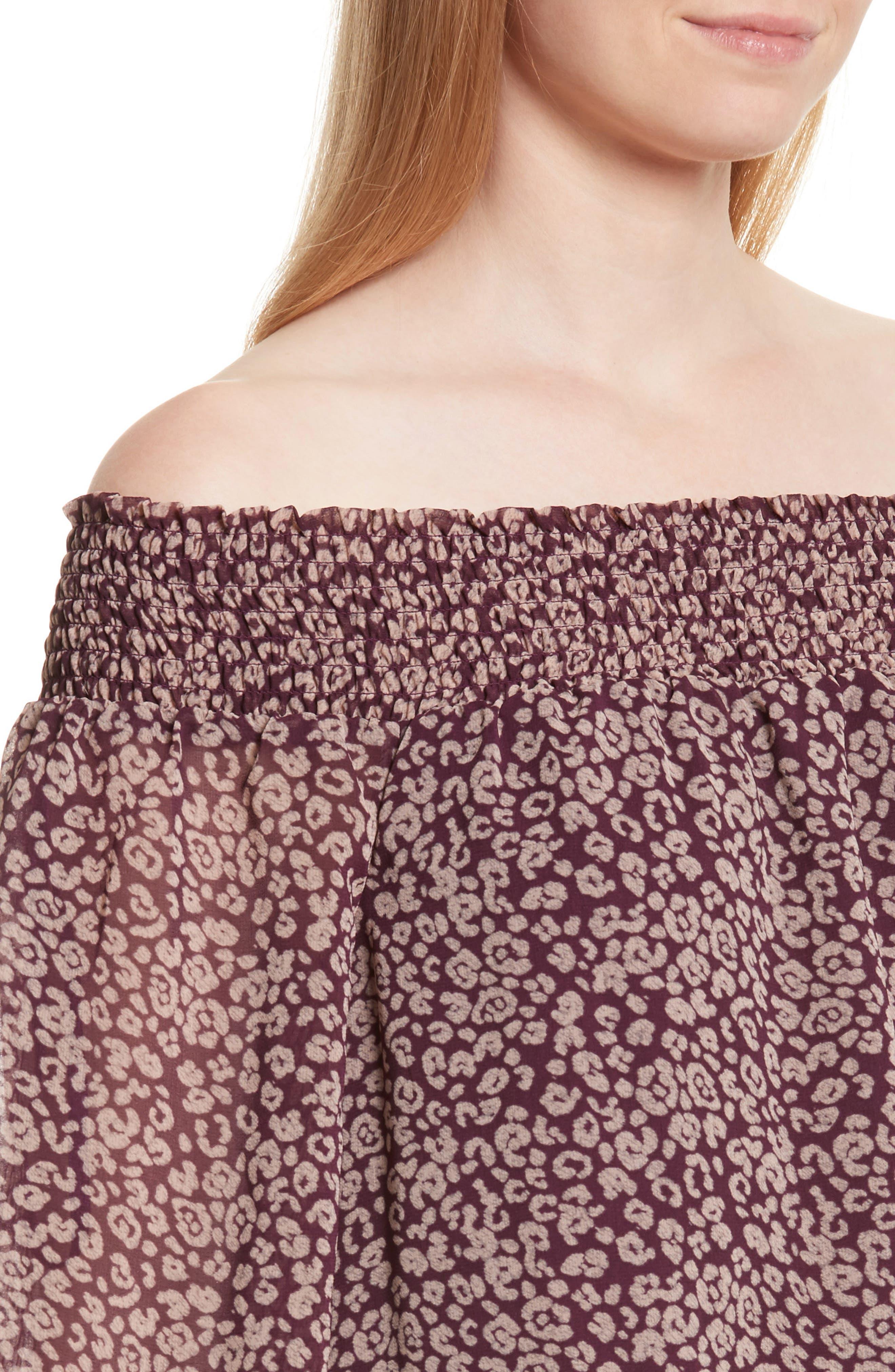 Avani Off the Shoulder Top,                             Alternate thumbnail 4, color,                             Potent Purple Leopard