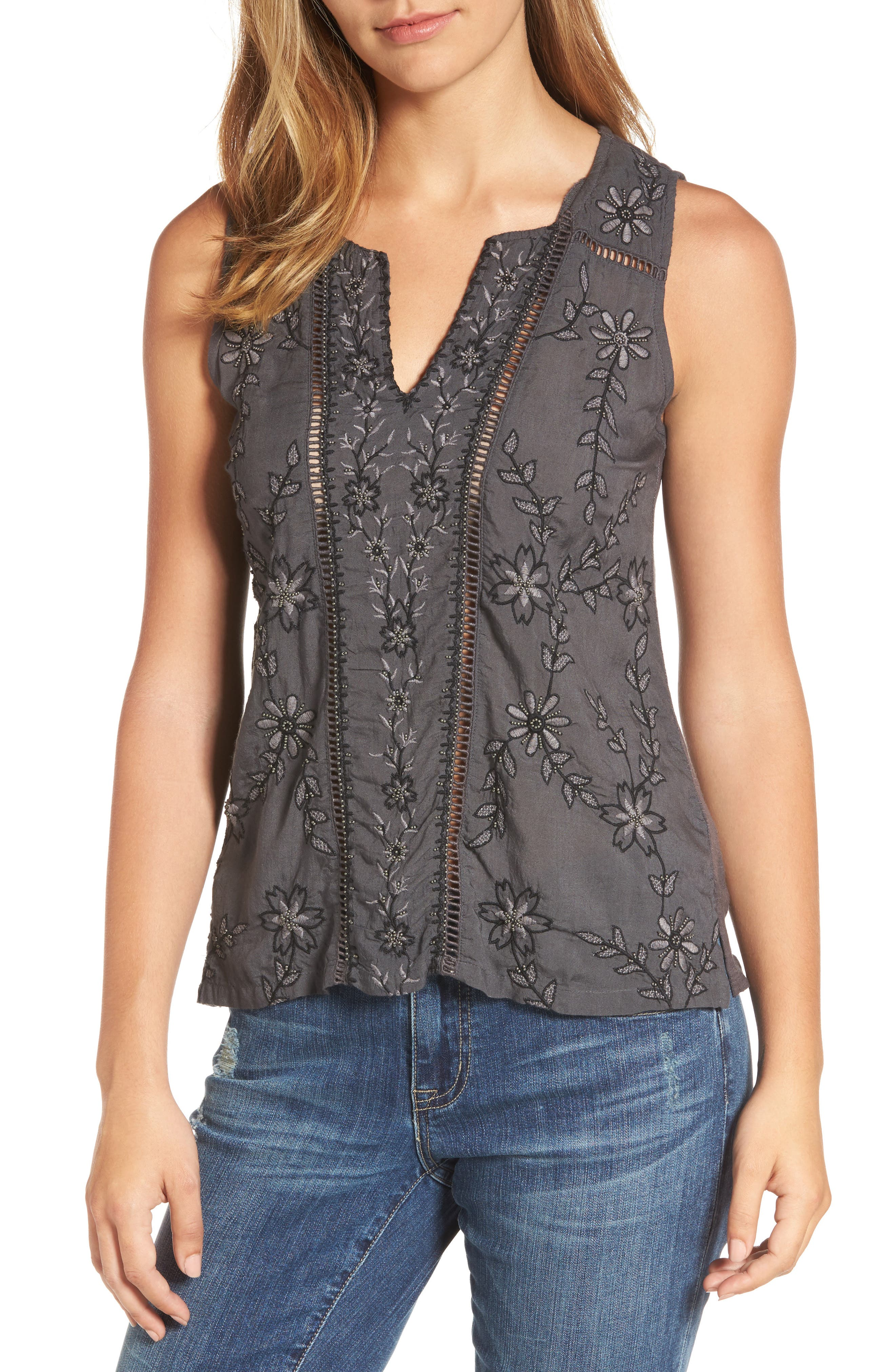 Lucky Brand Beaded Embroidered Top