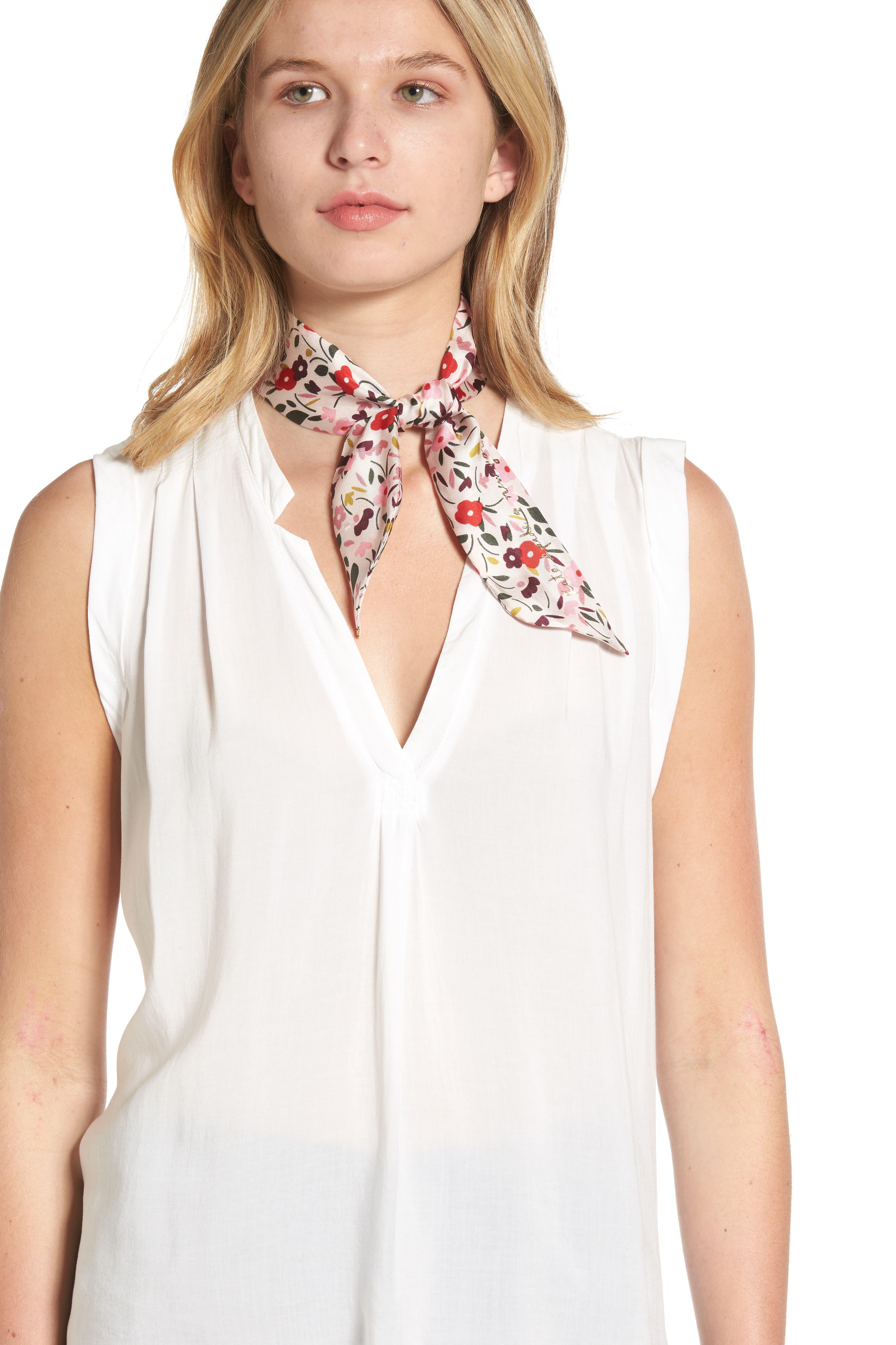 bohemian floral silk skinny scarf,                             Main thumbnail 1, color,                             Rose Dew