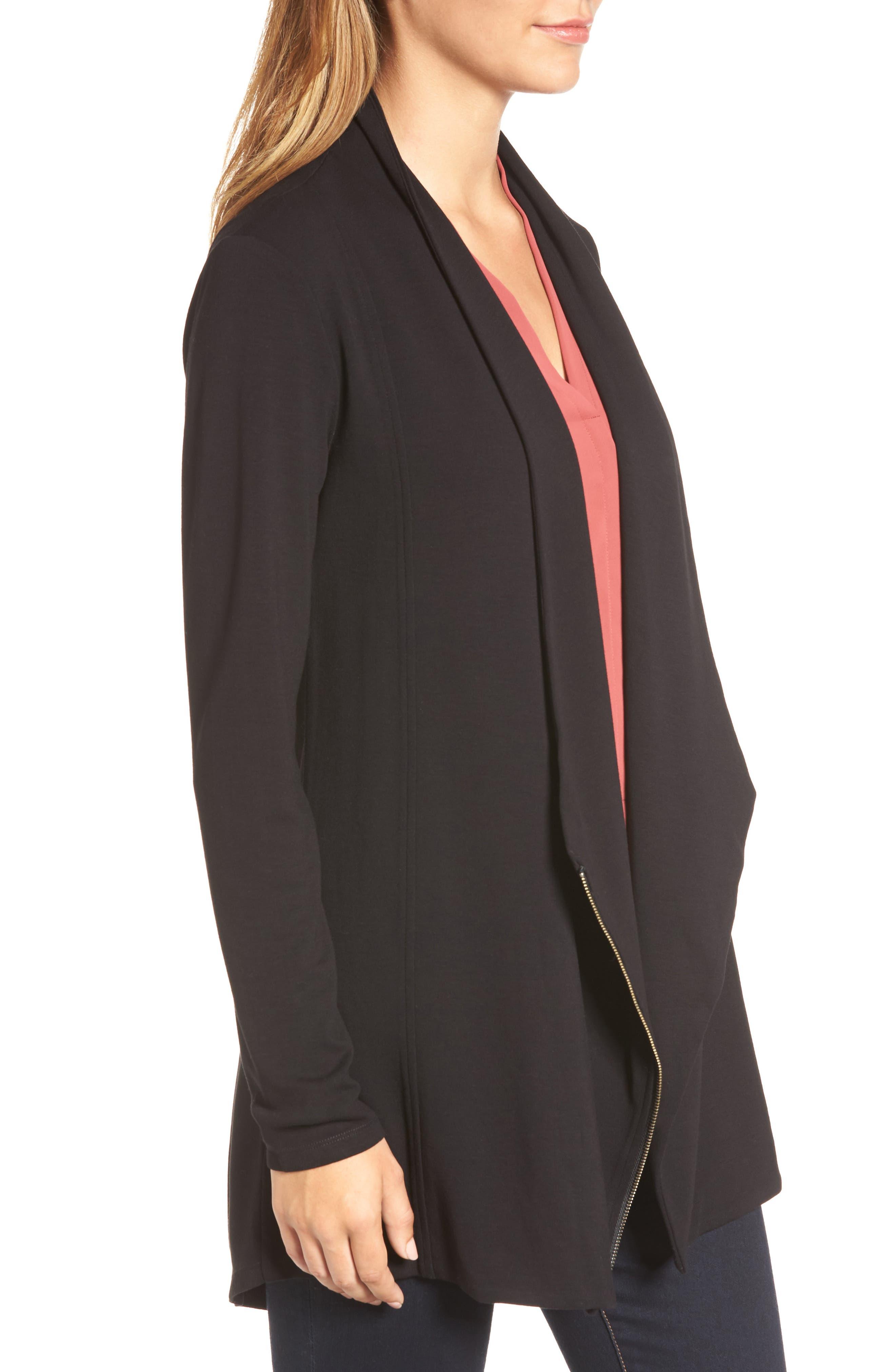 Studio Asymmetrical Zip Jacket,                             Alternate thumbnail 3, color,                             Black Onyx