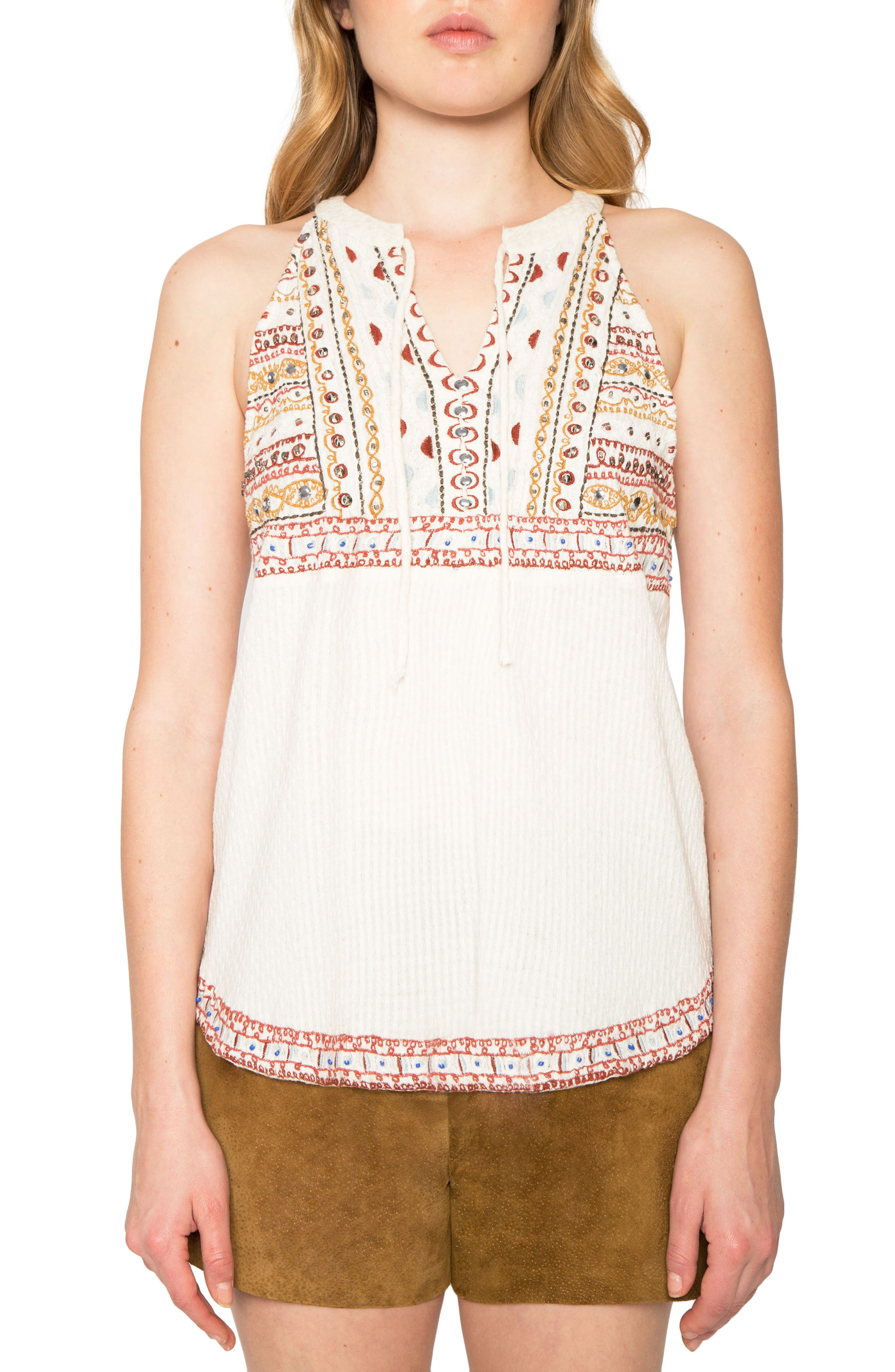 Embroidered Sleeveless Top,                         Main,                         color, Natural