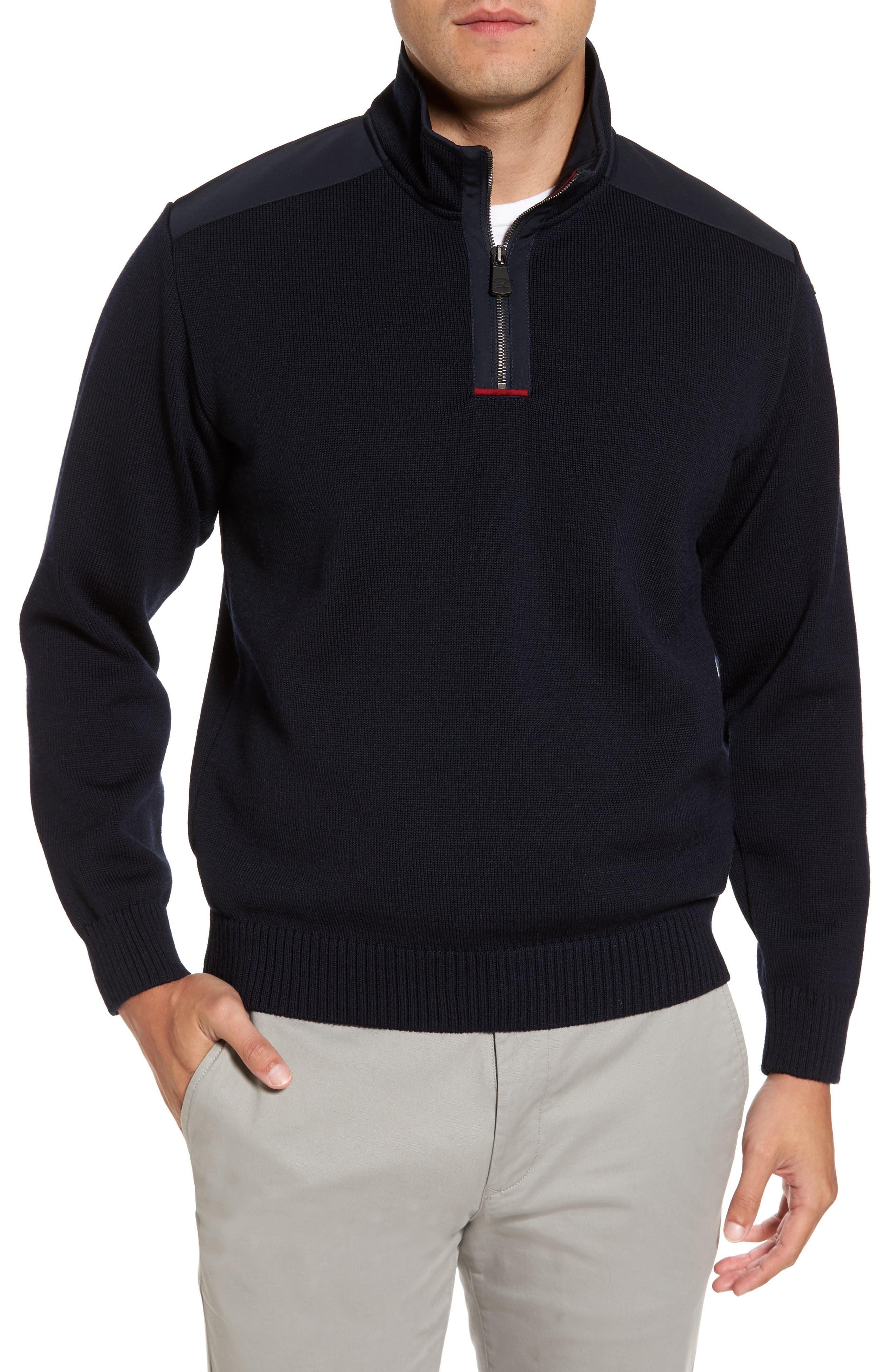 Paul&Shark Bretagne Quarter Zip Wool Sweater,                             Main thumbnail 1, color,                             Navy