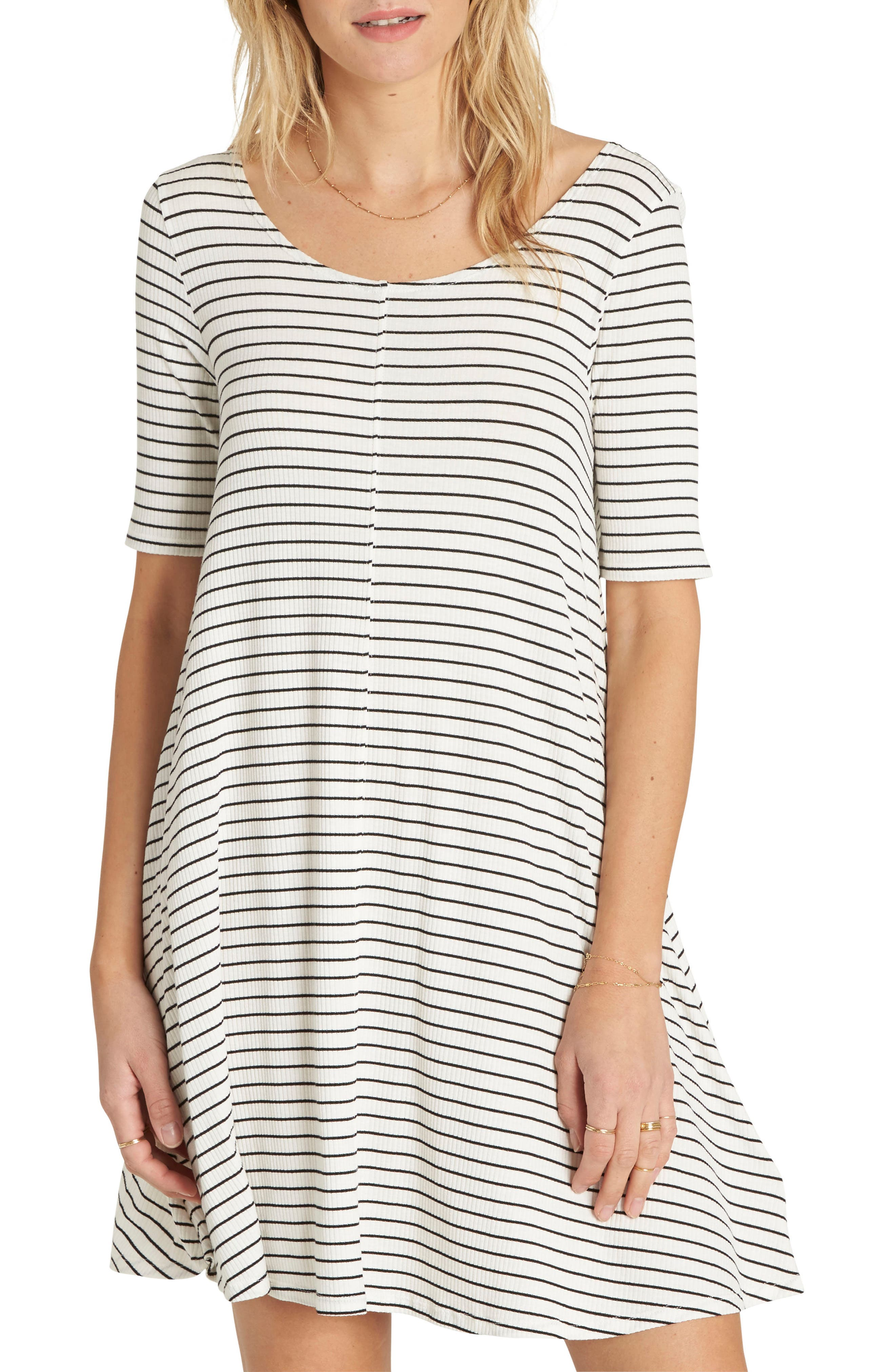 Nothing to Hide Ribbed T-Shirt Dress,                         Main,                         color, Black/ White