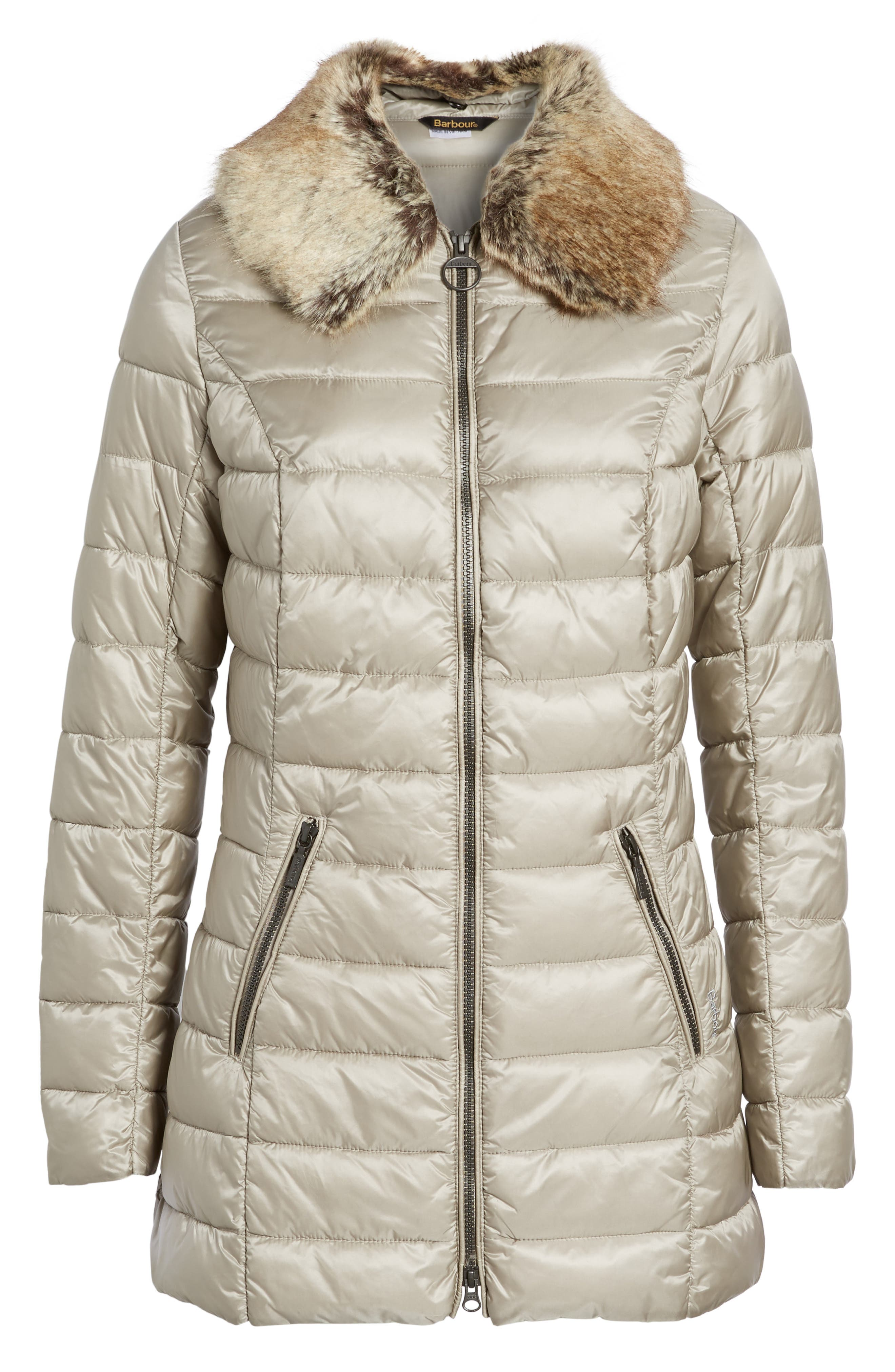 Rambleton Water Resistant Quilted Jacket with Faux Fur Collar,                             Alternate thumbnail 6, color,                             Taupe