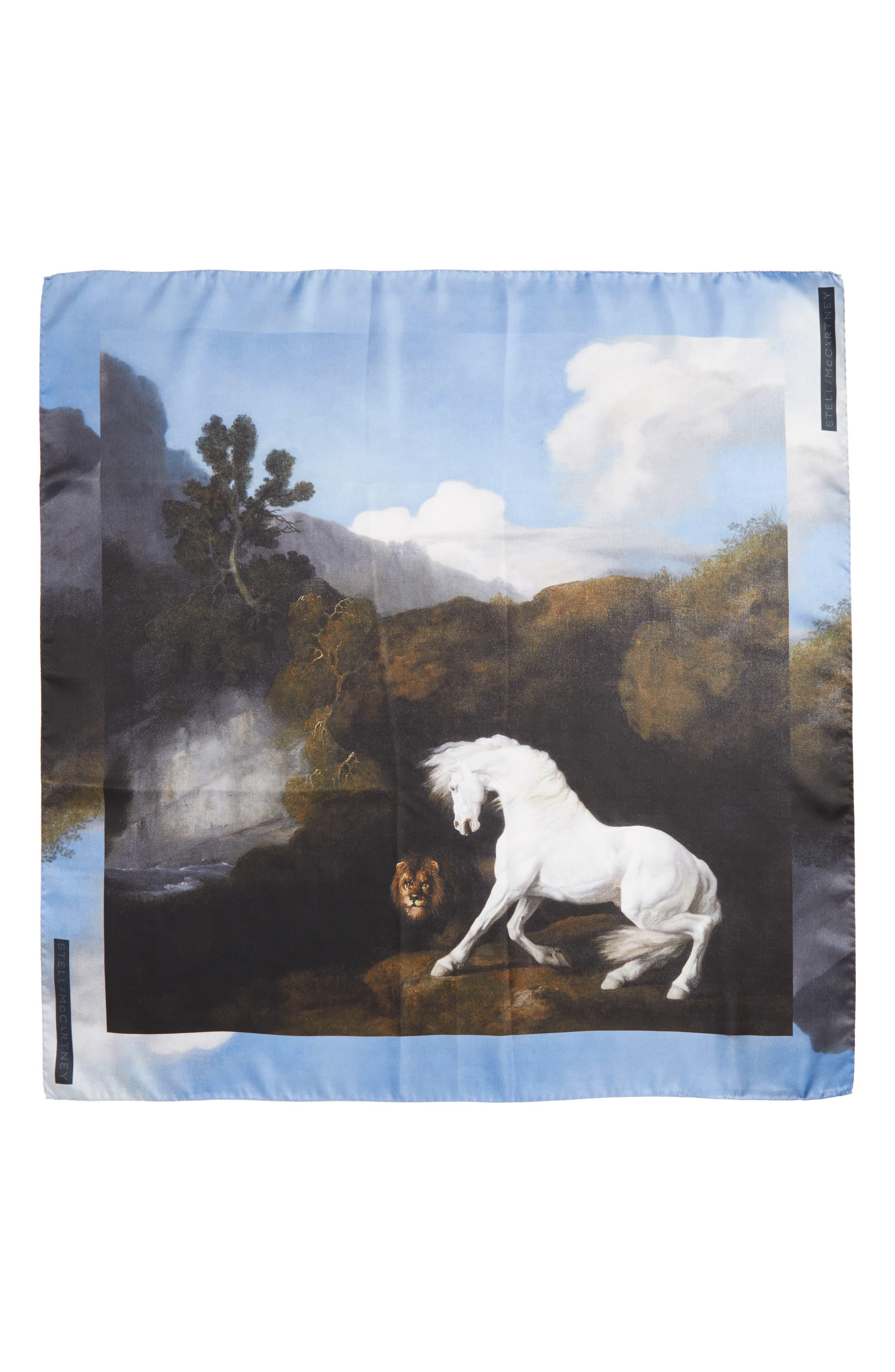 Stubbs Horse Silk Scarf,                         Main,                         color, Black
