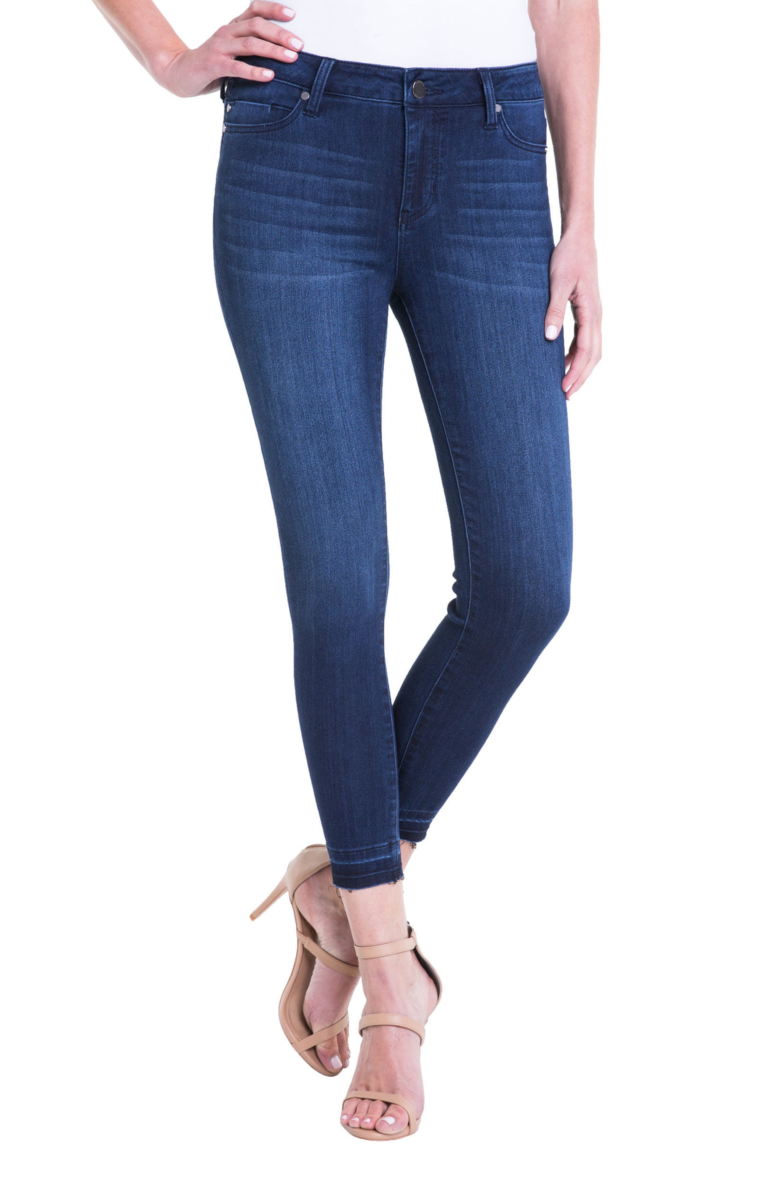 Avery High Rise Release Hem Stretch Crop Skinny Jeans,                         Main,                         color, Estrella Med Dark