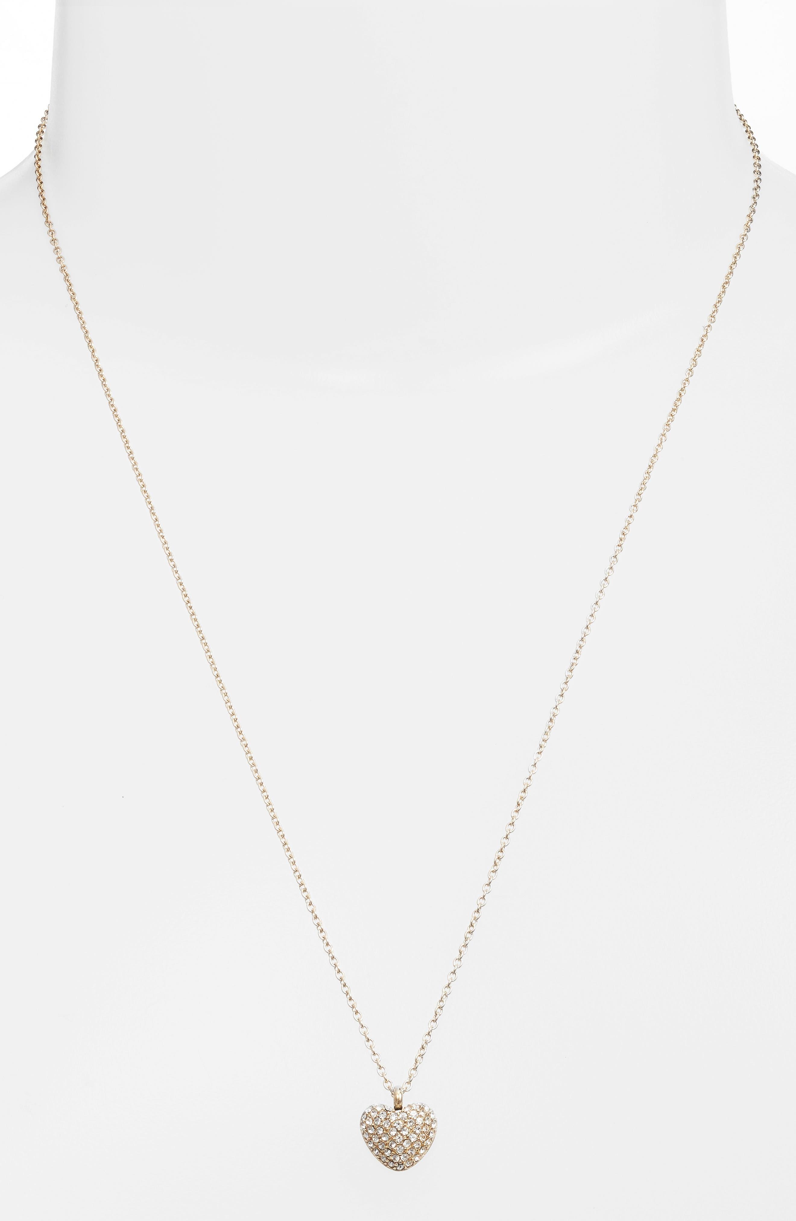 Pavé Heart Pendant Necklace,                         Main,                         color, Gold