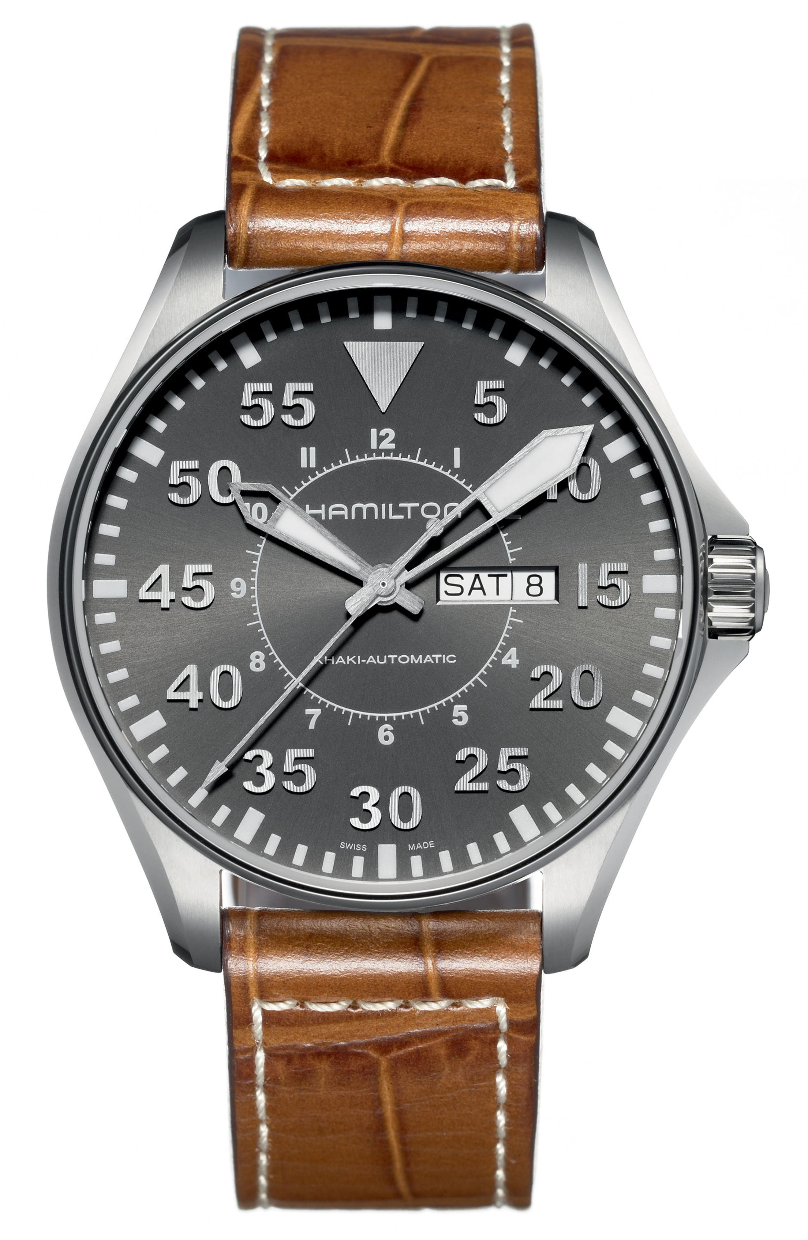 Khaki Aviation Automatic Leather Strap Watch, 46mm,                         Main,                         color, Brown/ Grey/ Silver
