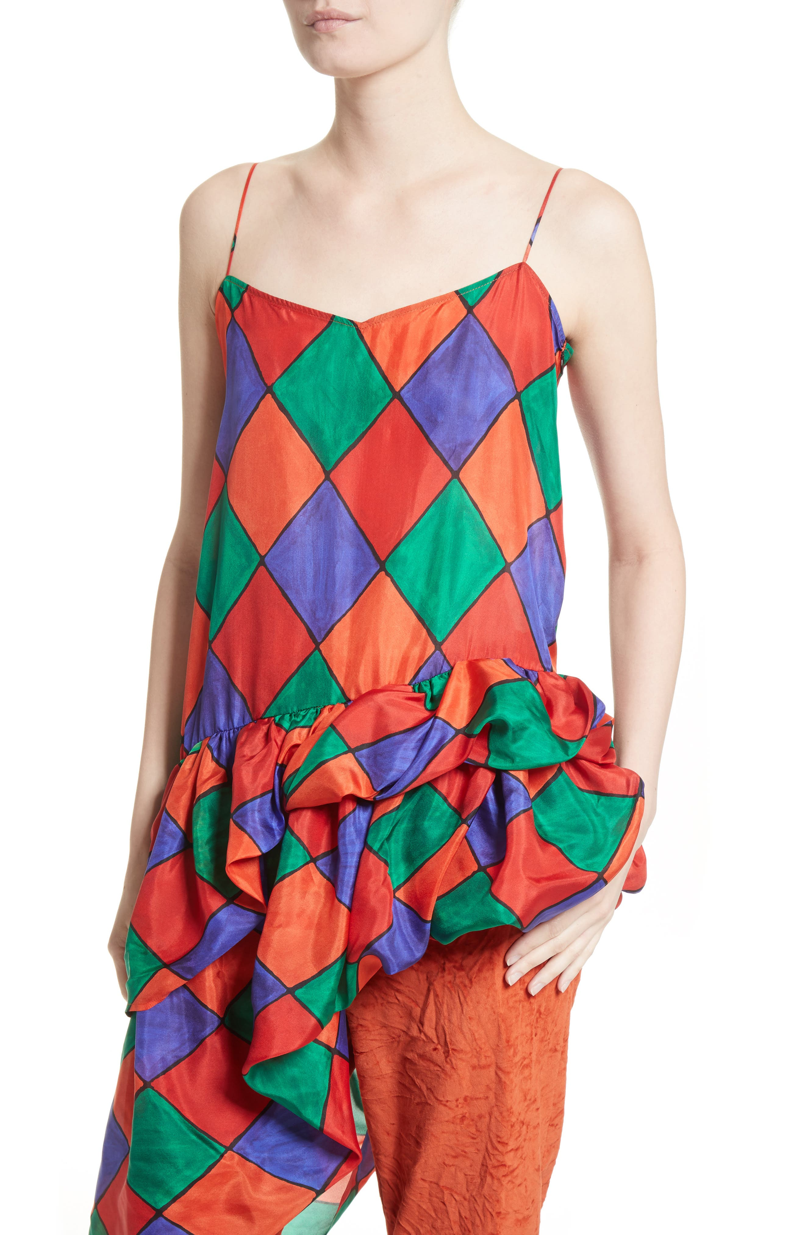 Fairy Asymmetrical Ruffle Silk Top,                             Alternate thumbnail 4, color,                             Carnival