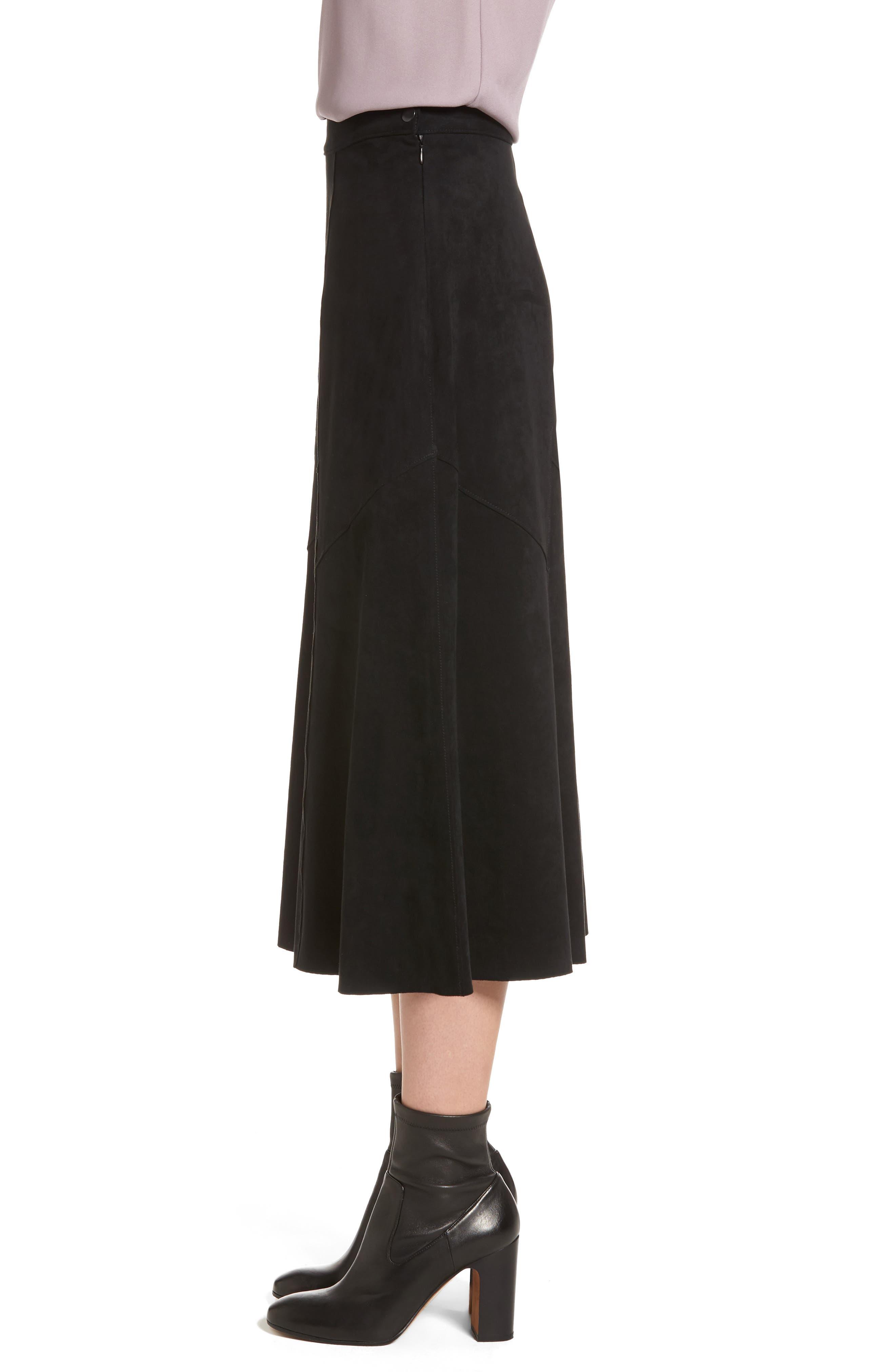 Faux Suede Midi Skirt,                             Alternate thumbnail 3, color,                             Black