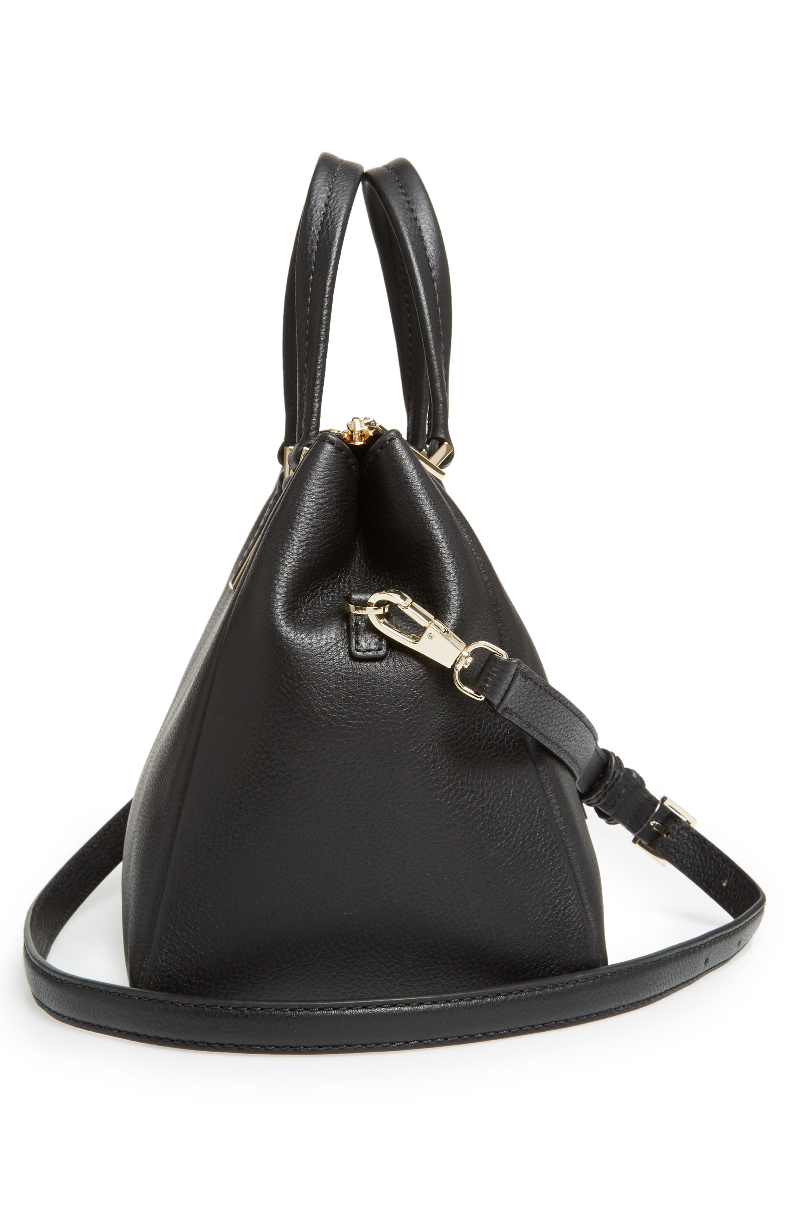 kingston drive - alena leather satchel,                             Alternate thumbnail 4, color,                             Black