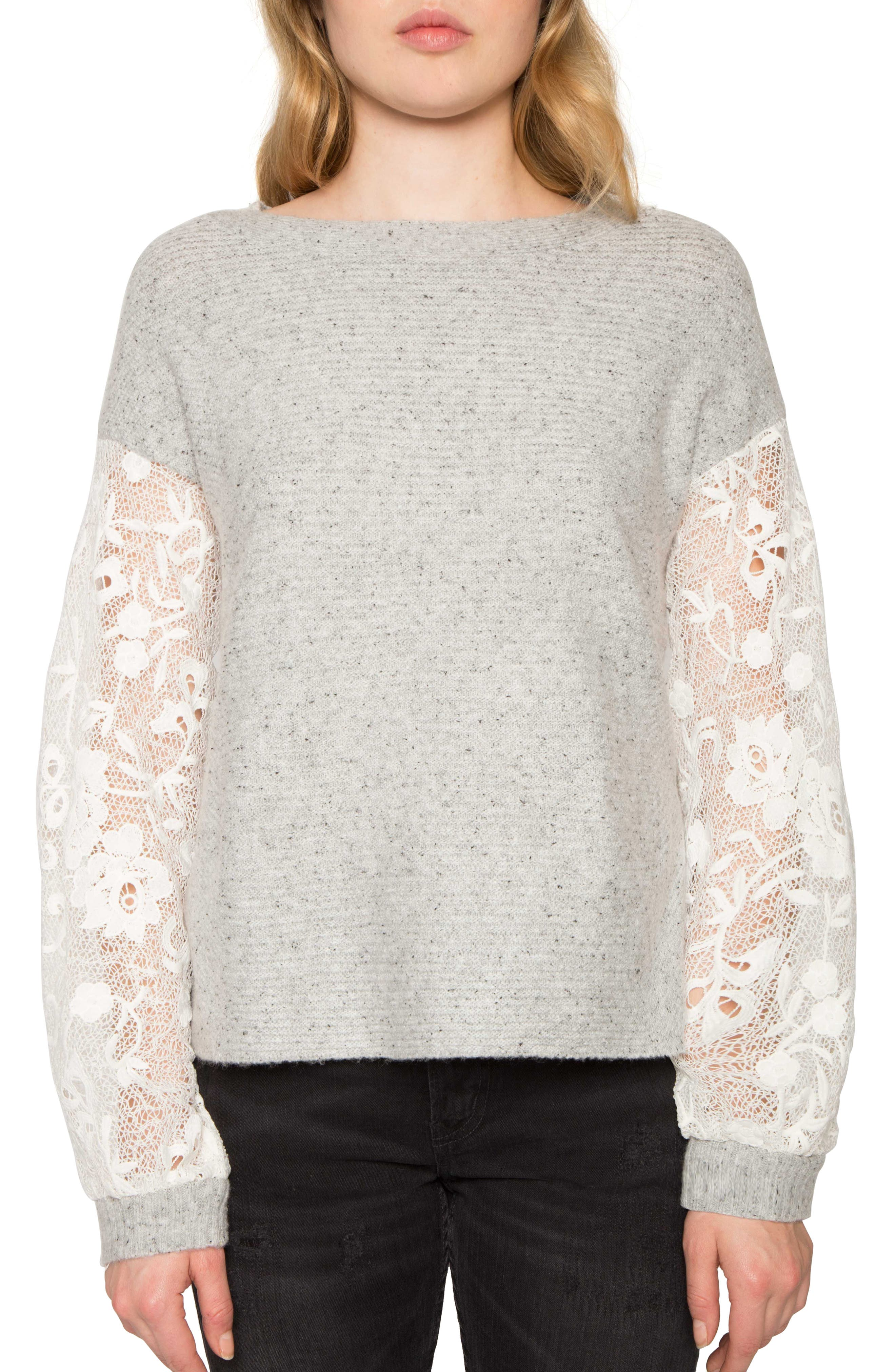 Main Image - Willow & Clay Lace Sleeve Sweater