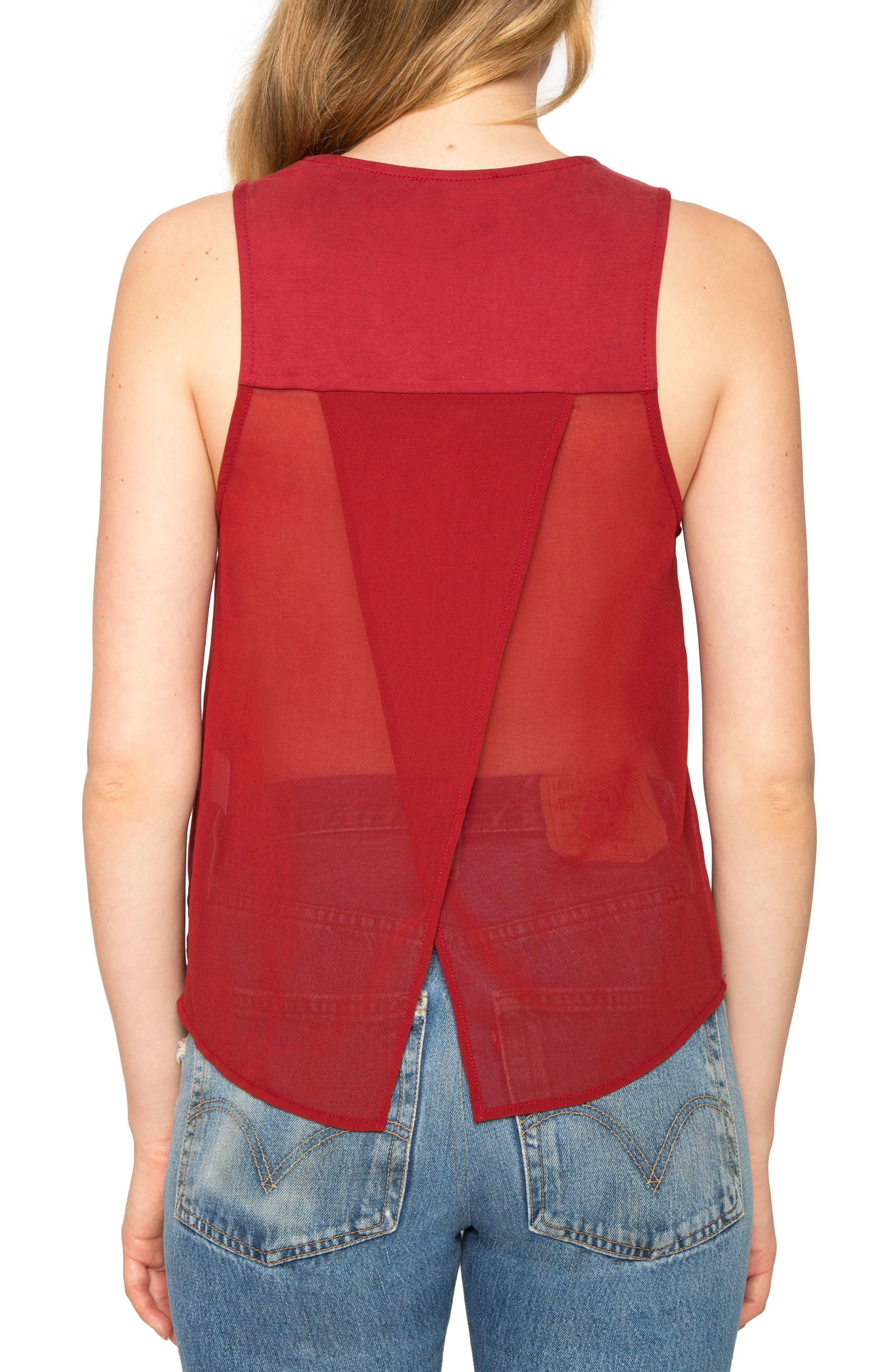 Twist Knit Tank,                             Alternate thumbnail 2, color,                             Deep Red