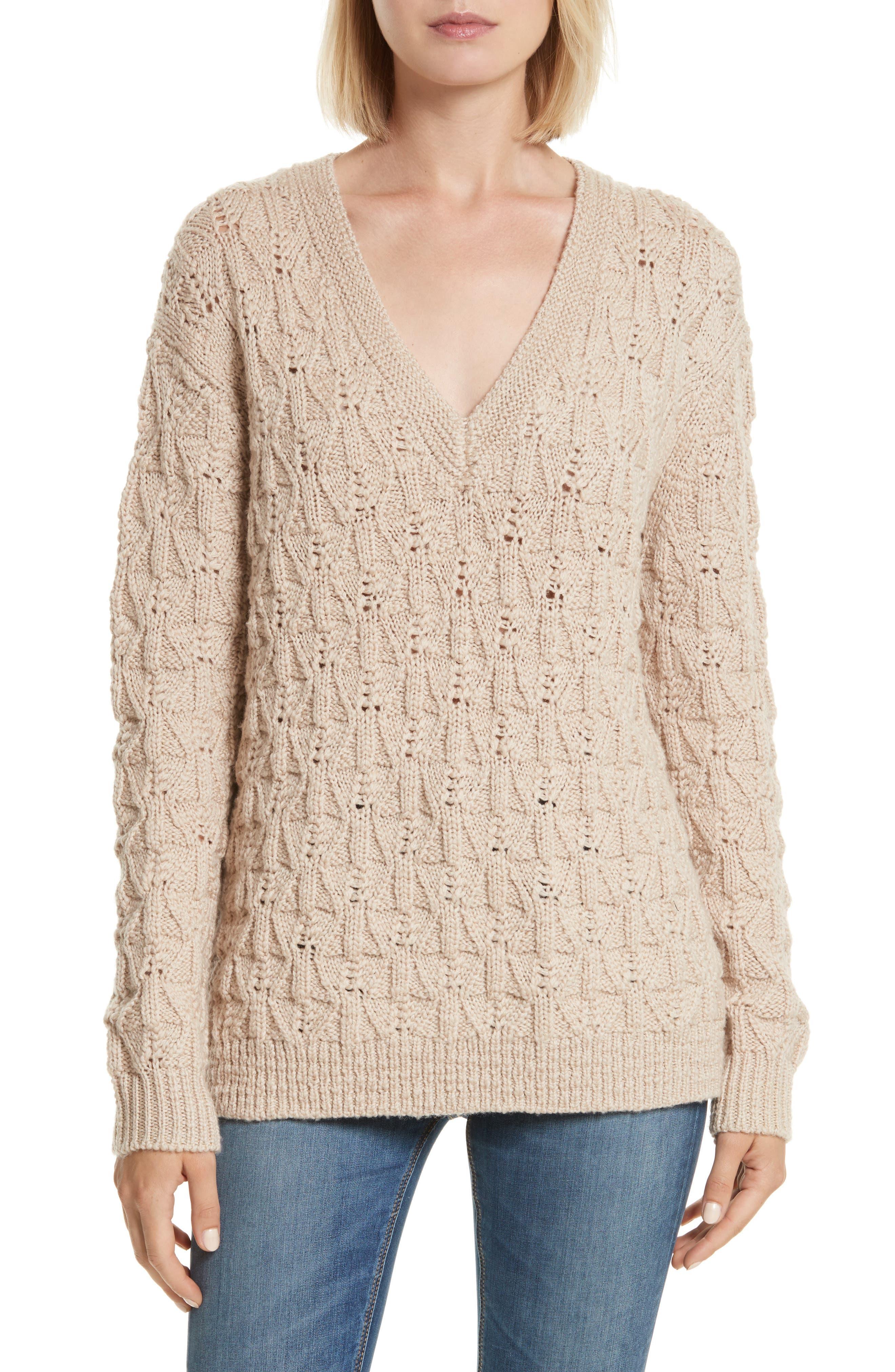 V-Neck Merino Wool Pullover,                         Main,                         color, Cafe Au Lait