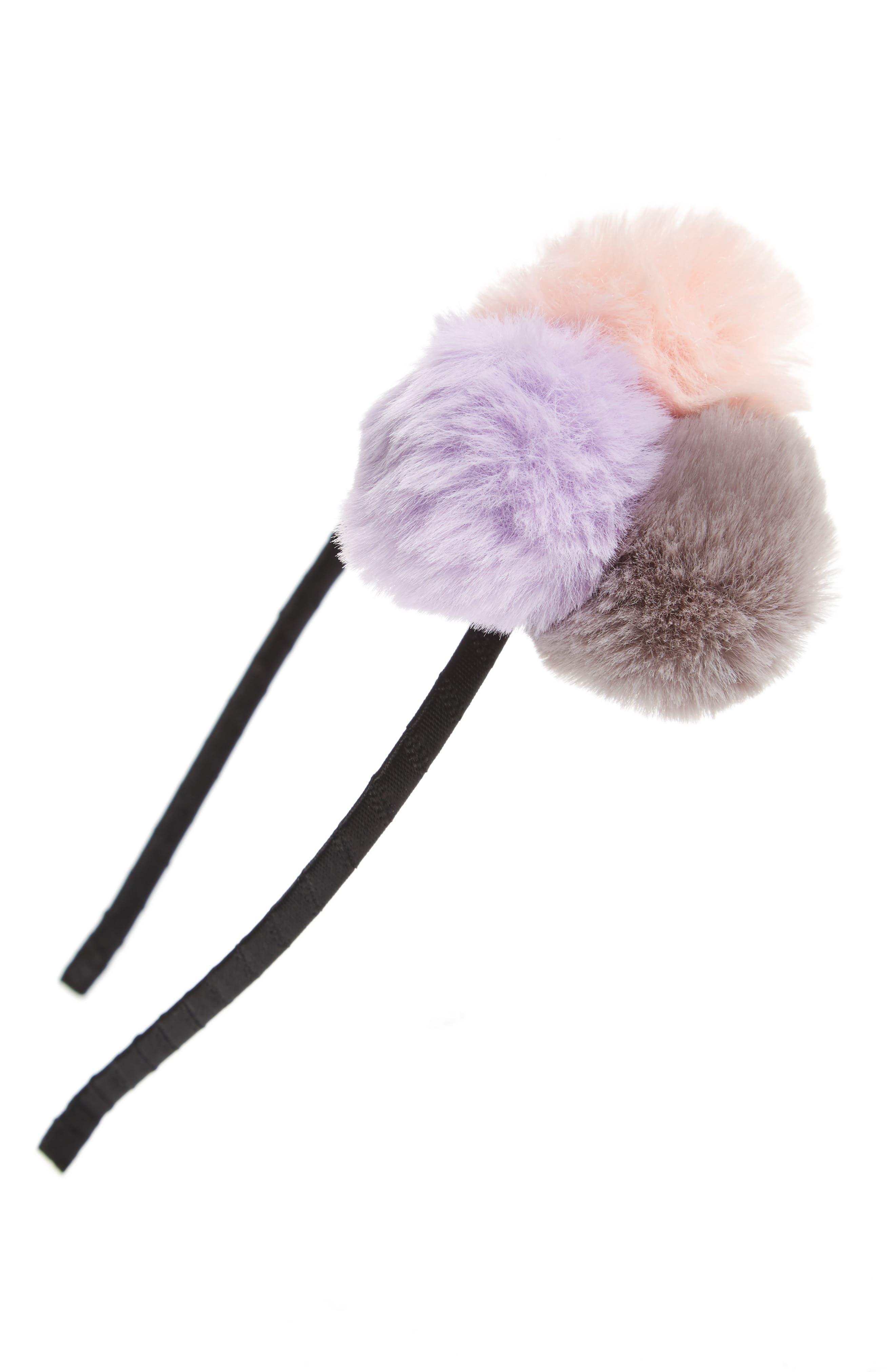 Accessory Collective Pompom Headband,                         Main,                         color, Light Pink/ Gray/ Magenta
