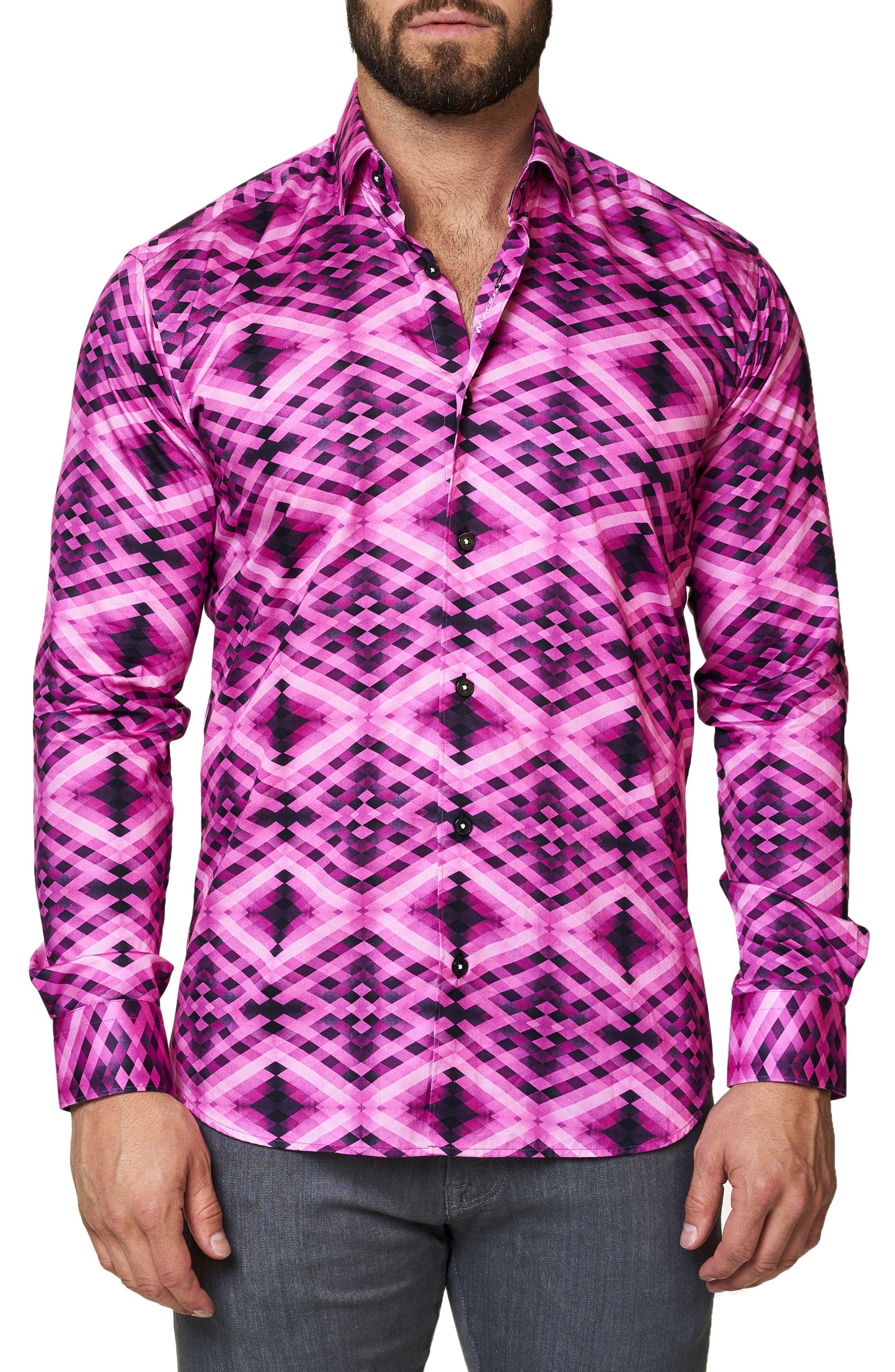 Luxor Slim Fit Geo Print Sport Shirt,                             Alternate thumbnail 3, color,                             Pink