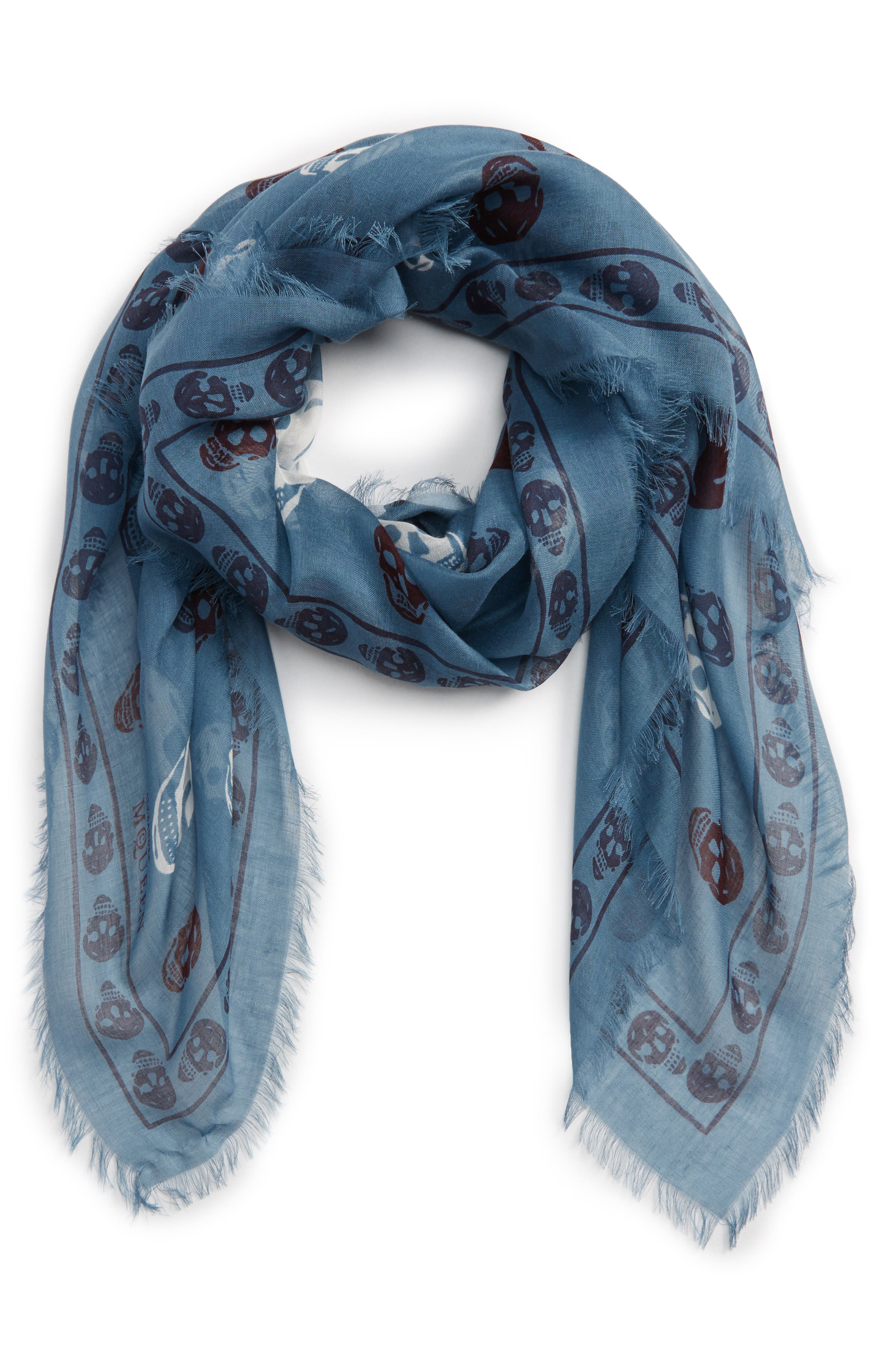 Multicolor Skull Silk & Modal Scarf,                         Main,                         color, Nile Blue