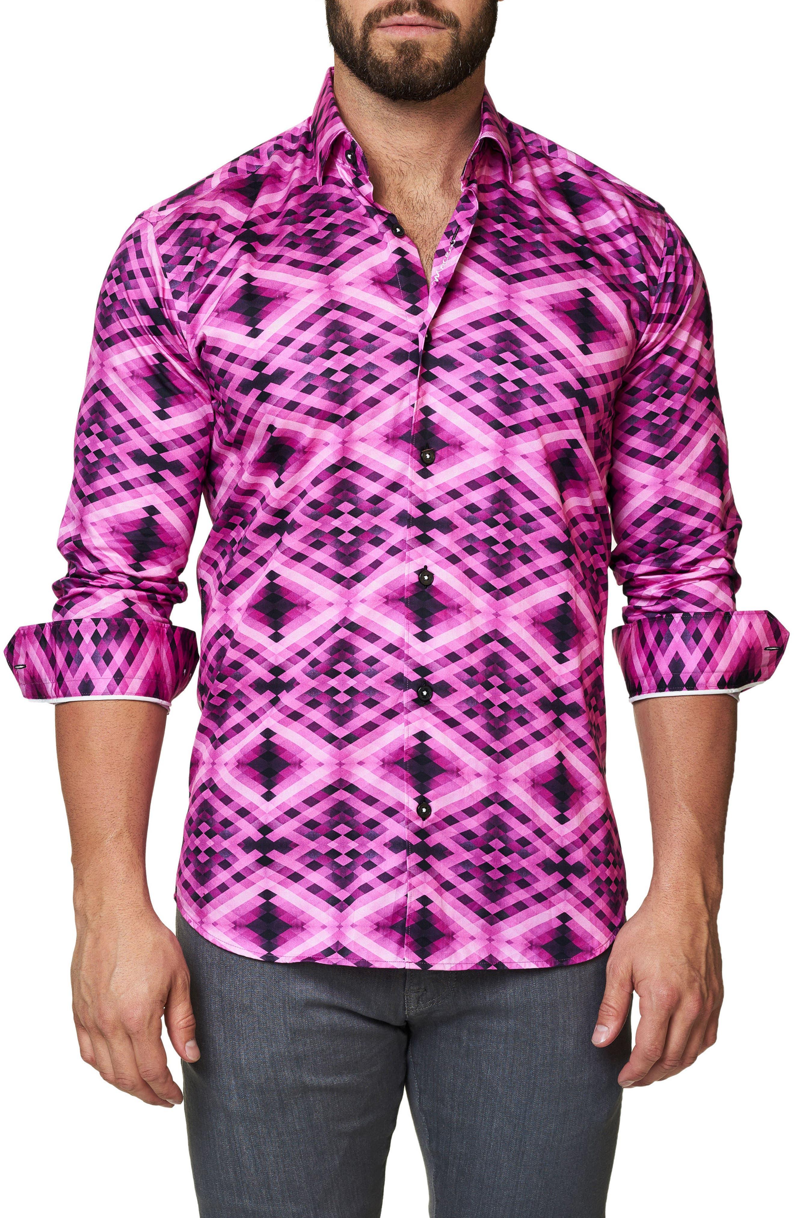 Luxor Slim Fit Geo Print Sport Shirt,                         Main,                         color, Pink