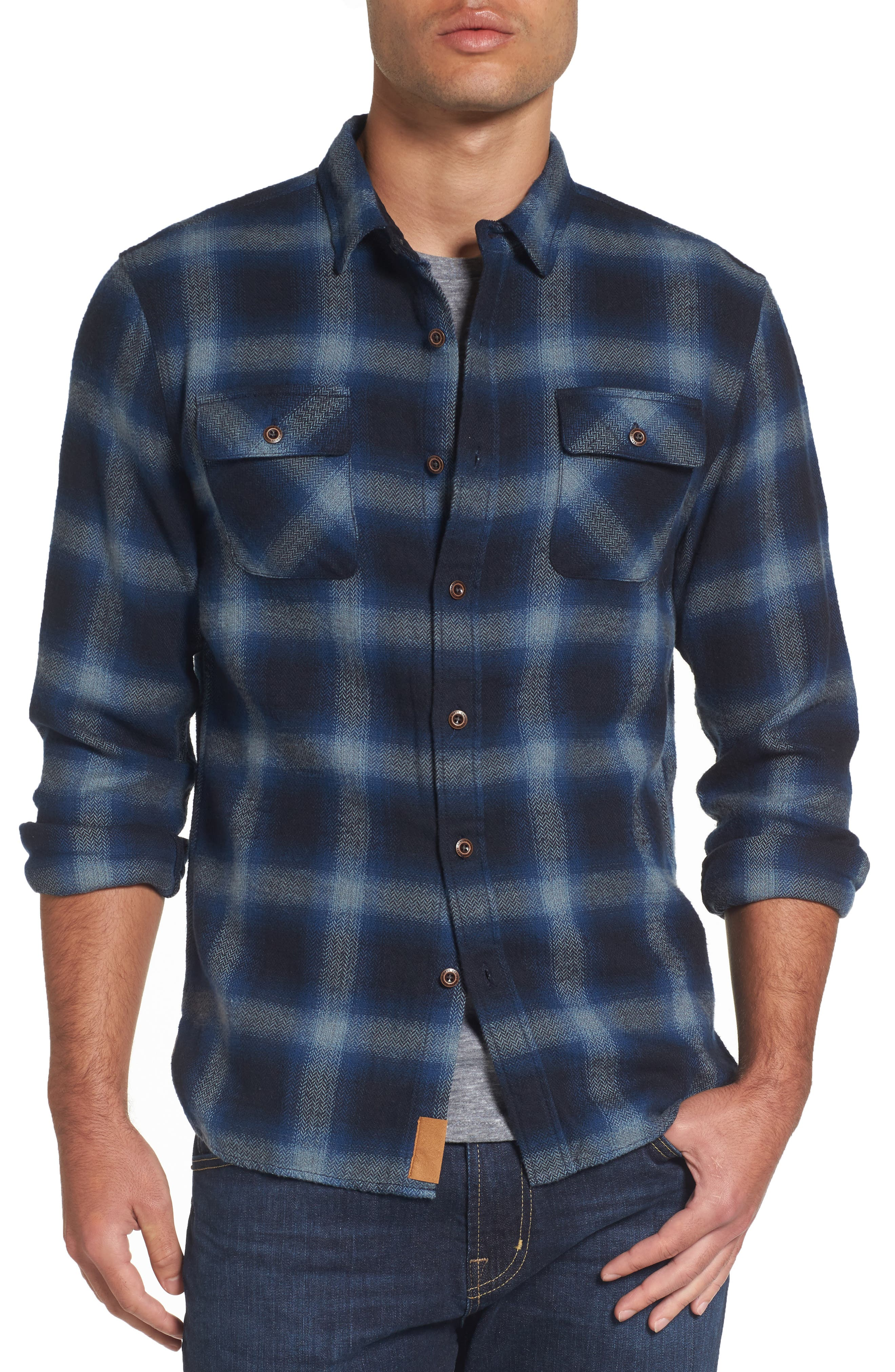 Truman Outdoor Check Sport Shirt,                         Main,                         color, Navy/ Blue