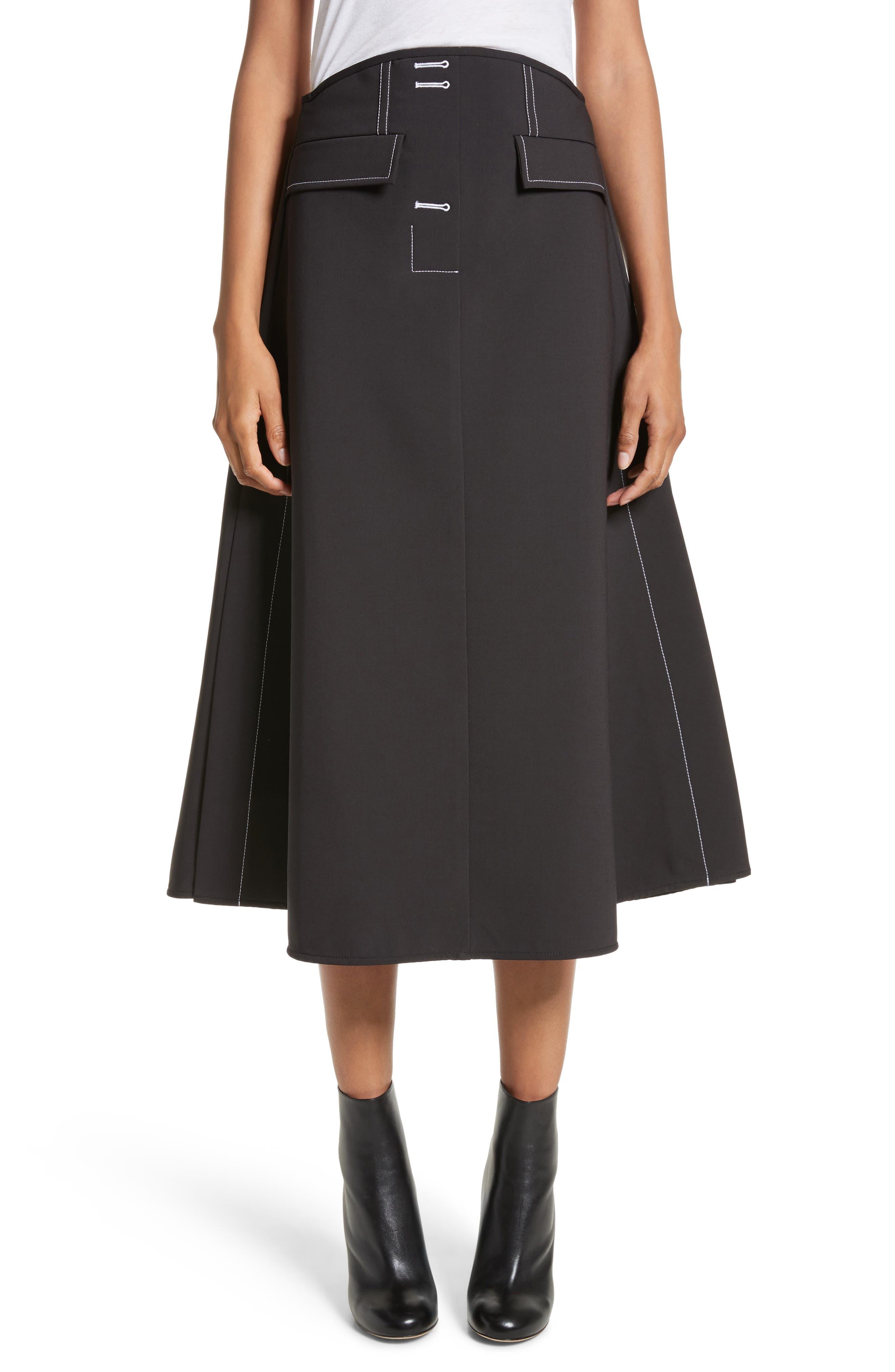 Eunice A-Line Skirt,                         Main,                         color, Black W White