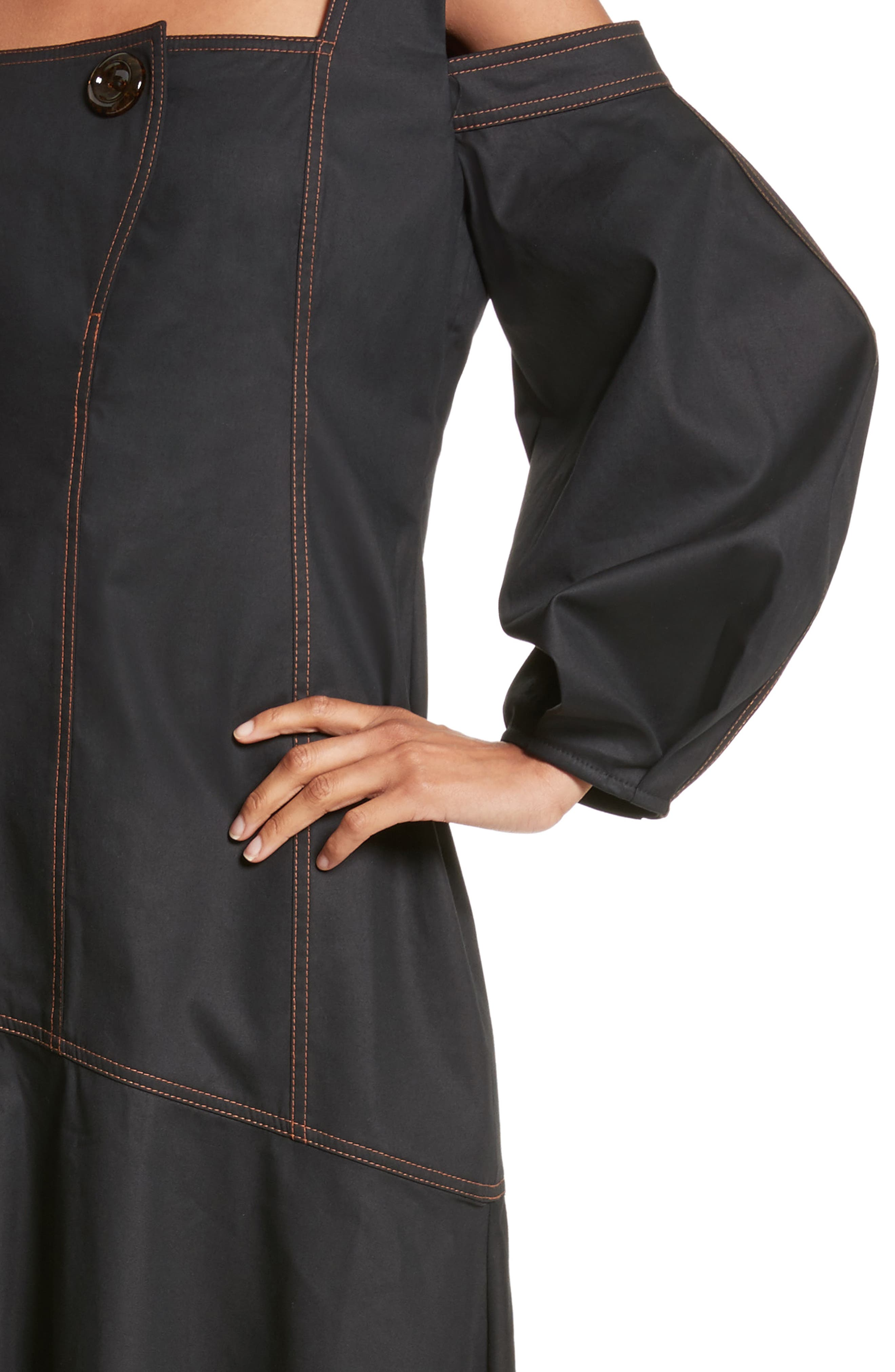 Mississippi Off the Shoulder Stretch Twill Dress,                             Alternate thumbnail 7, color,                             Black W Toffee