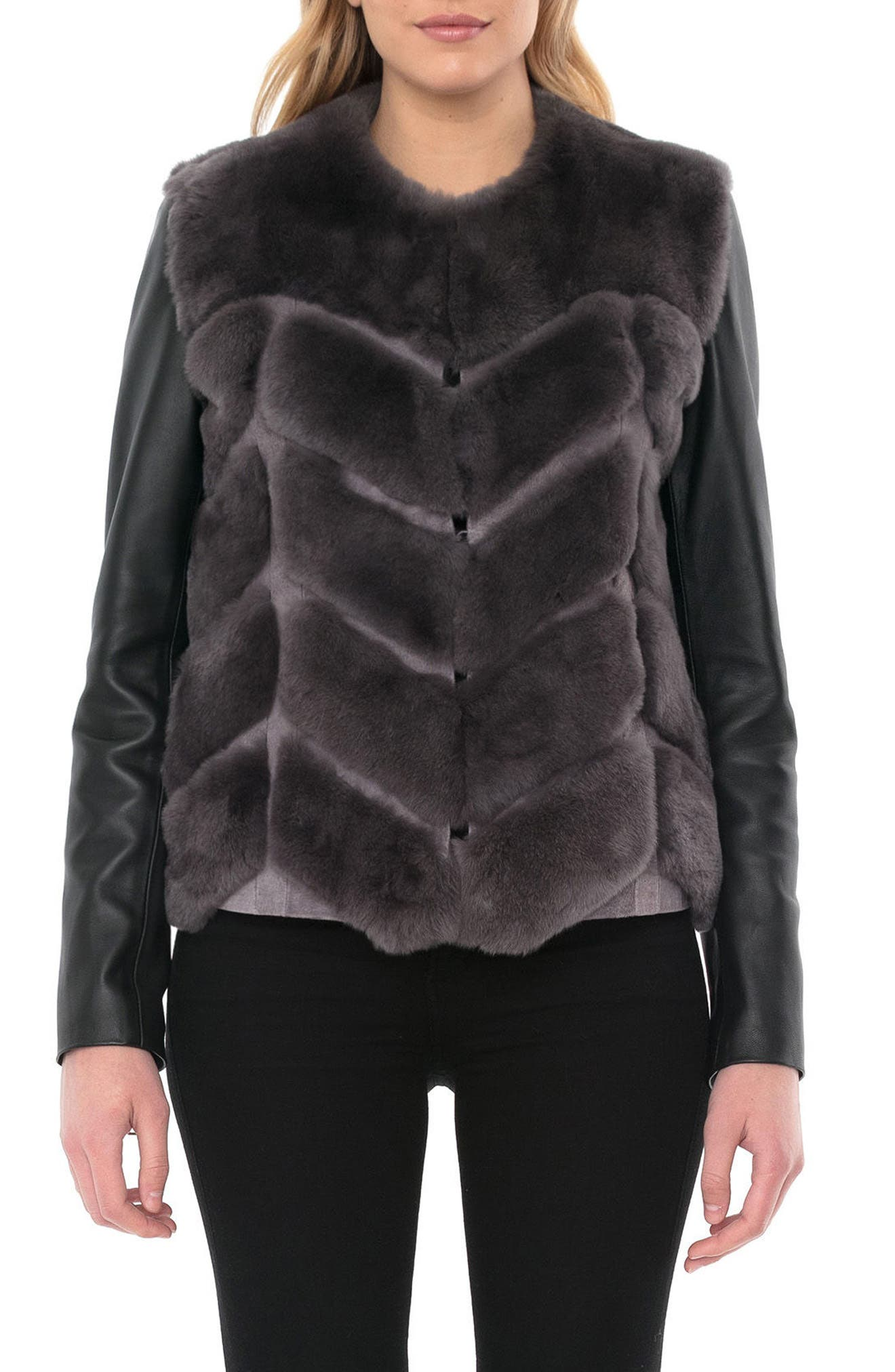 Alternate Image 4  - Badgley Mischka Genuine Rabbit Fur & Leather Jacket