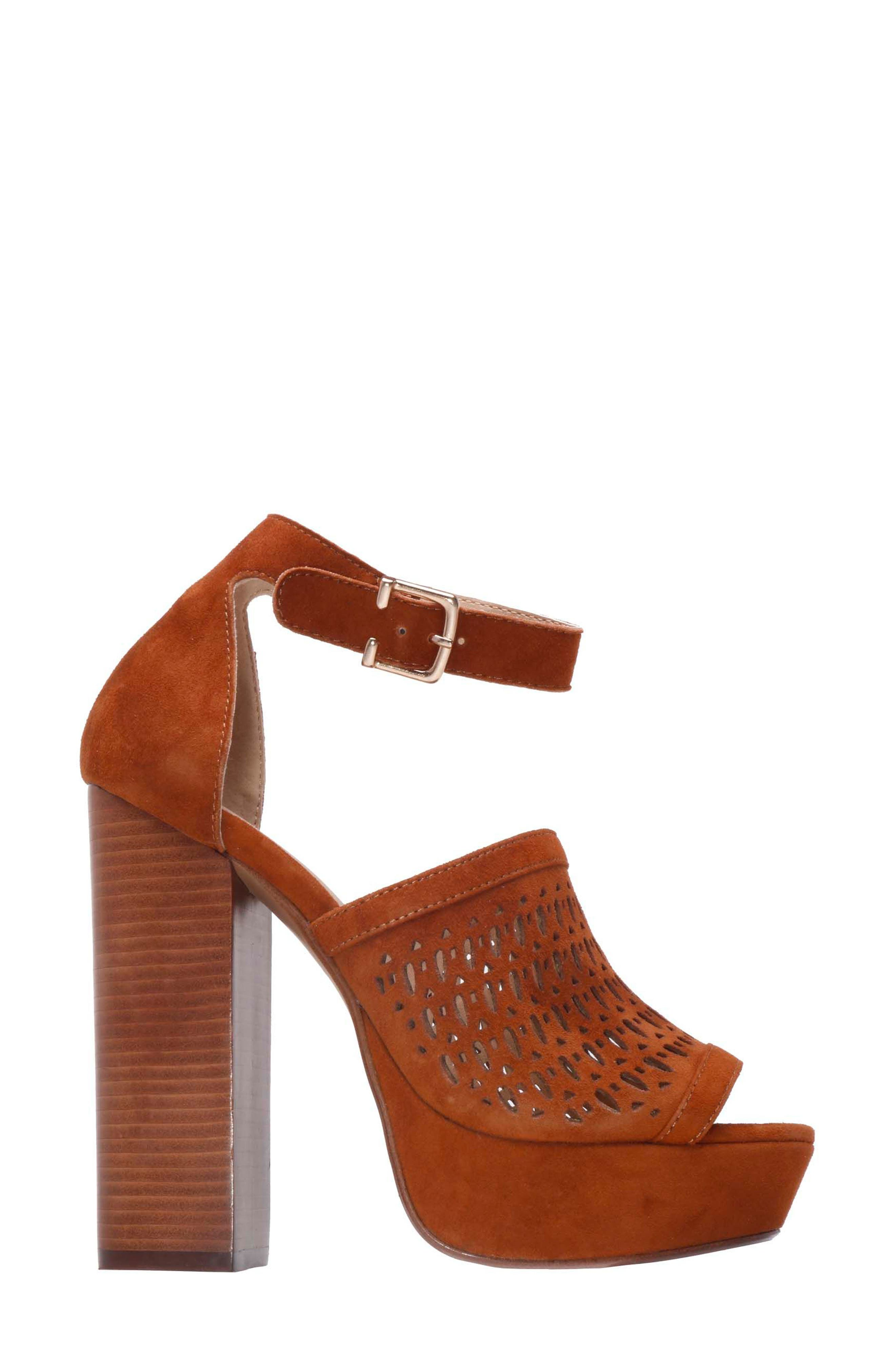 Lorne Platform Sandal,                             Alternate thumbnail 3, color,                             Camel Suede