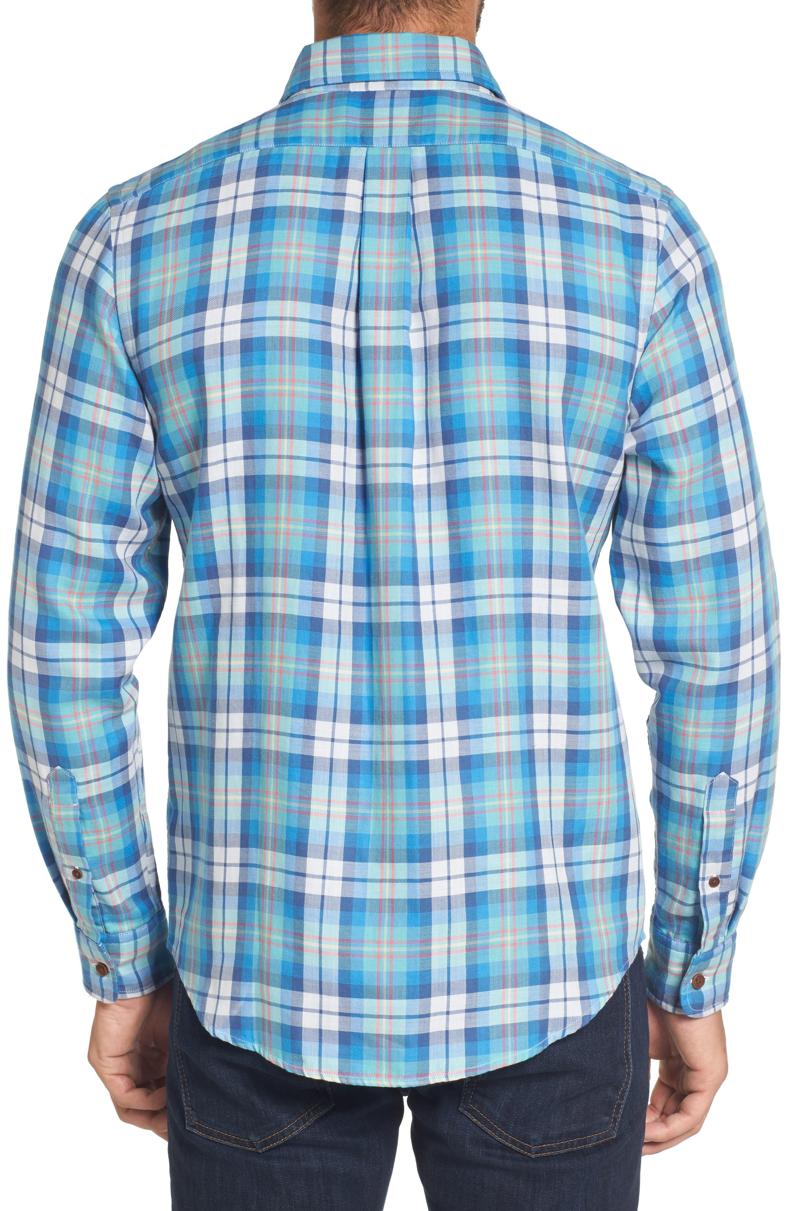 East Marsh Plaid Tucker Slim Fit Sport Shirt,                             Alternate thumbnail 2, color,                             Hull Blue