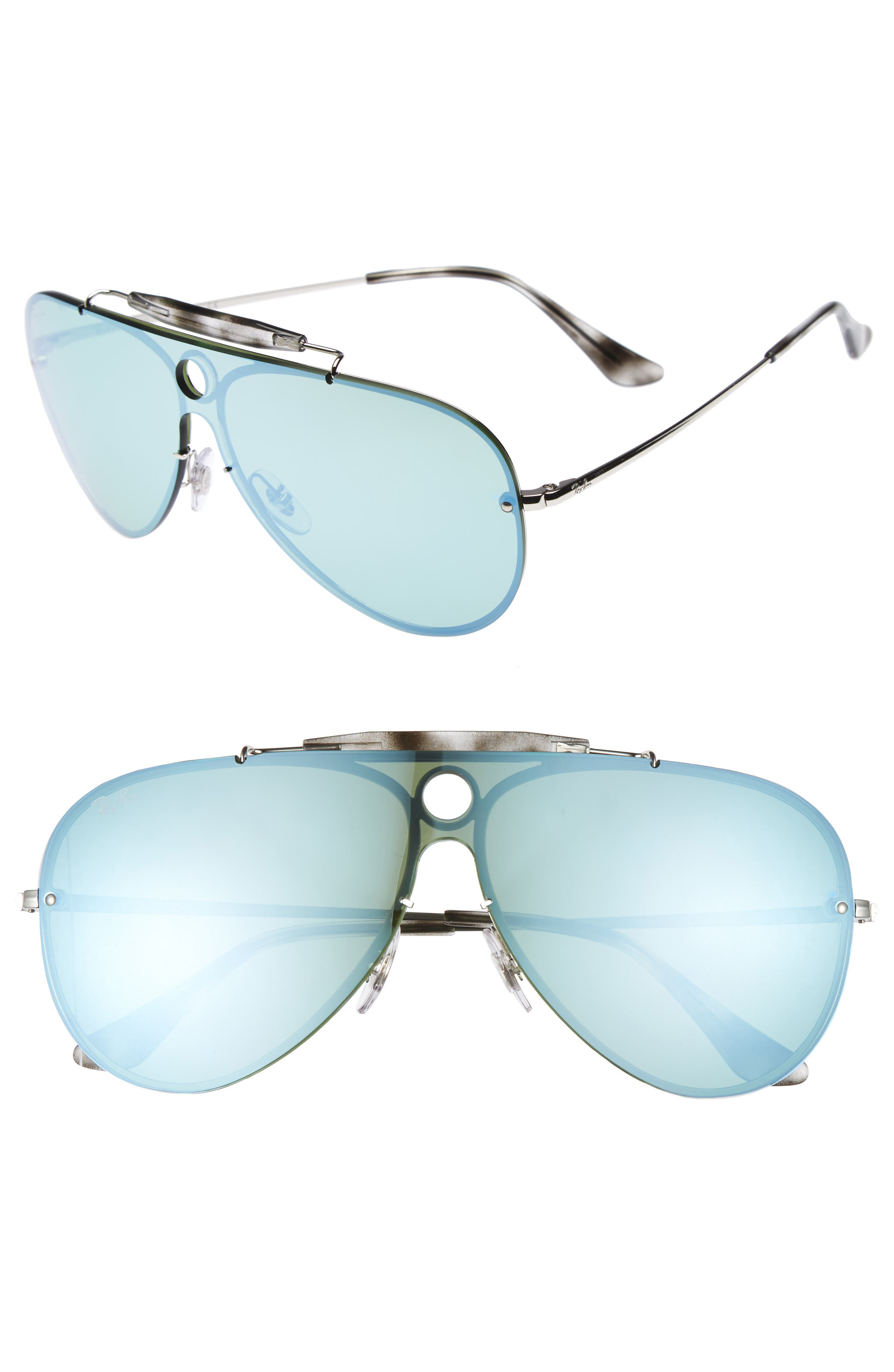 Aviator Shield Sunglasses,                         Main,                         color, Green Mirror