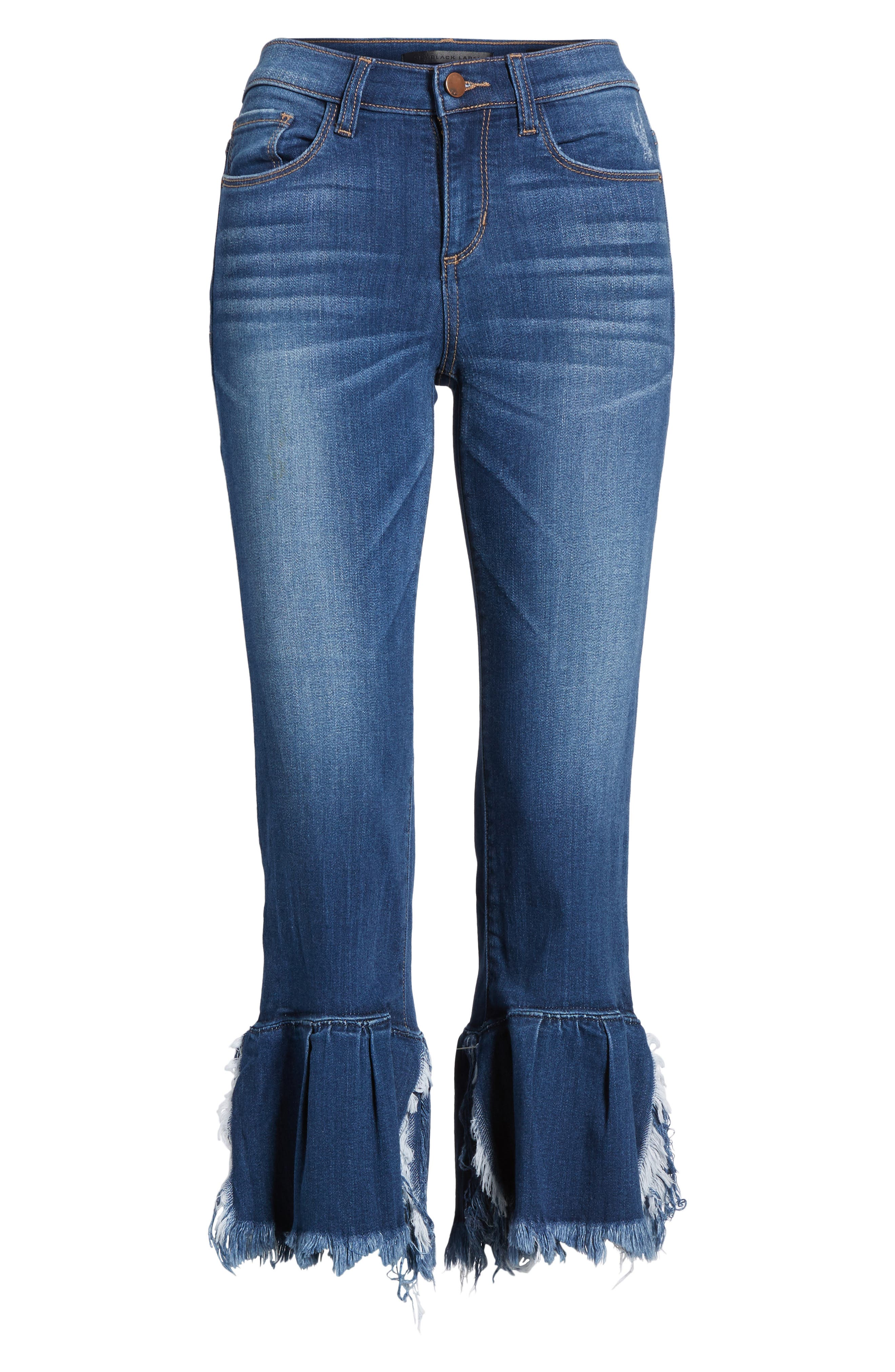 Ruffle Hem Jeans,                             Alternate thumbnail 6, color,                             Med Wash
