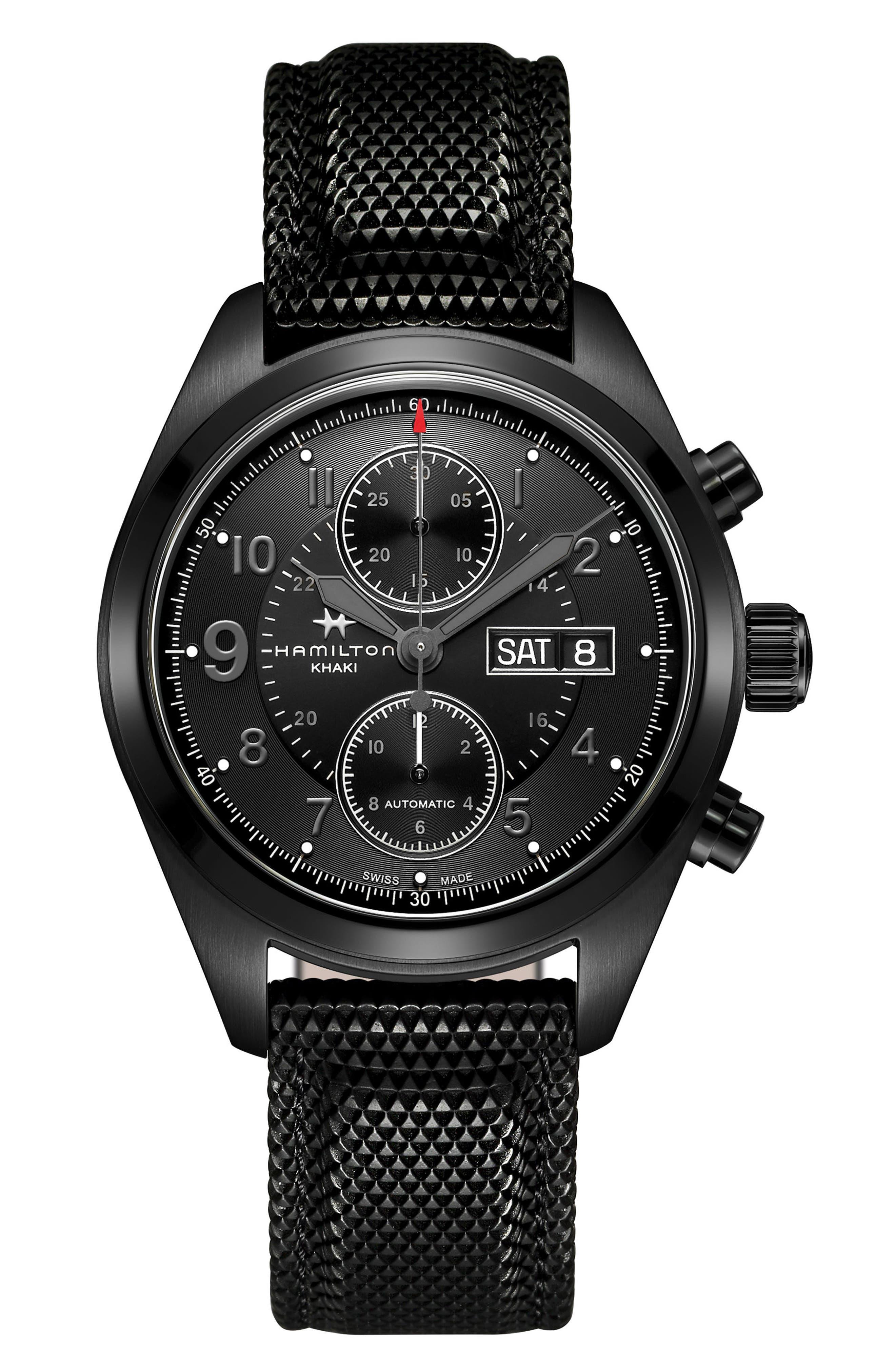 Main Image - Hamilton Khaki Field Automatic Chronograph Silicone Strap Watch, 42mm